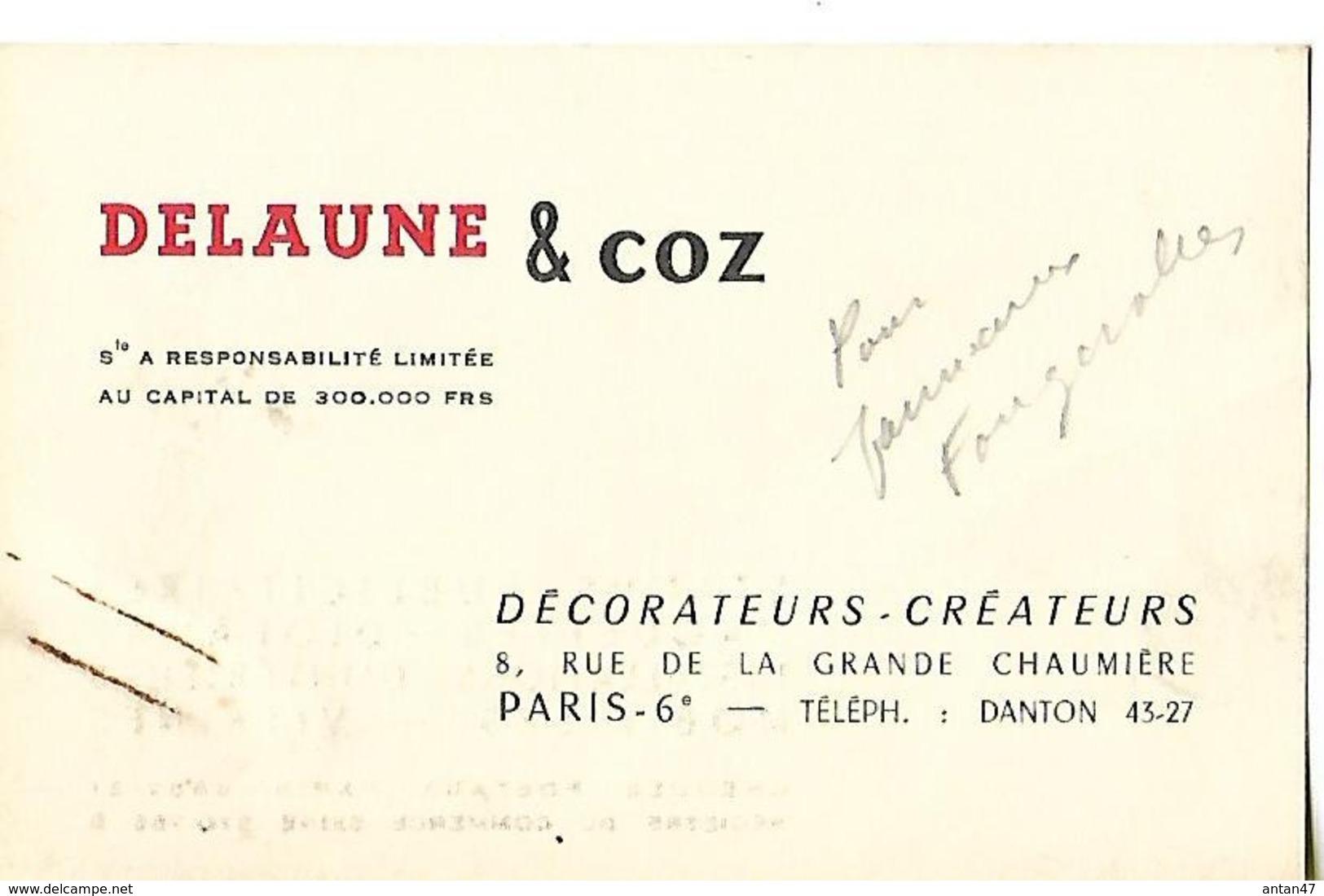 Carte Commerciale (10.5 X 6.5cm) / 75 PARIS / DELAUNE & COZ / Décorateurs-créateurs - Visiting Cards