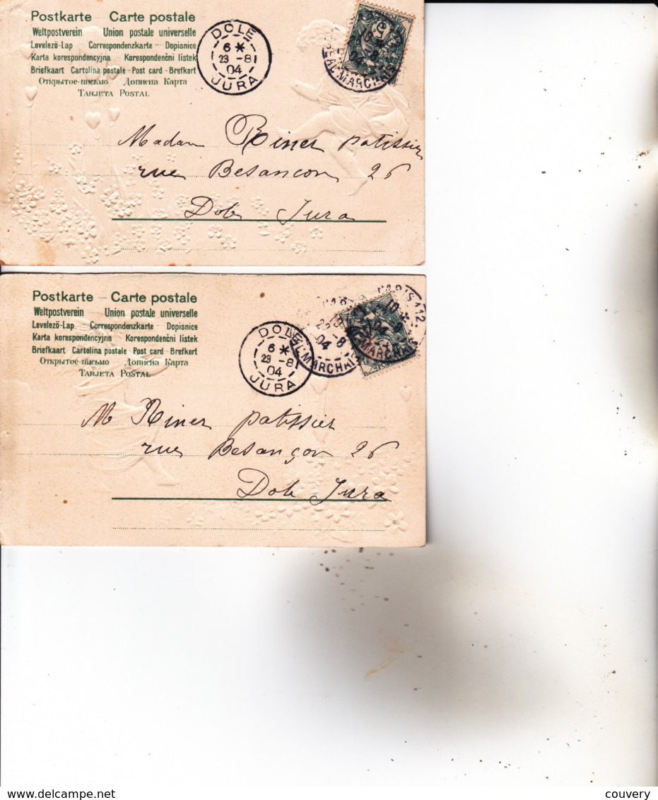 """CPA ANGES , ( Carte """"gauffrée"""" , Voyagée En 1904.) 2 Cartes... - Angeles"""