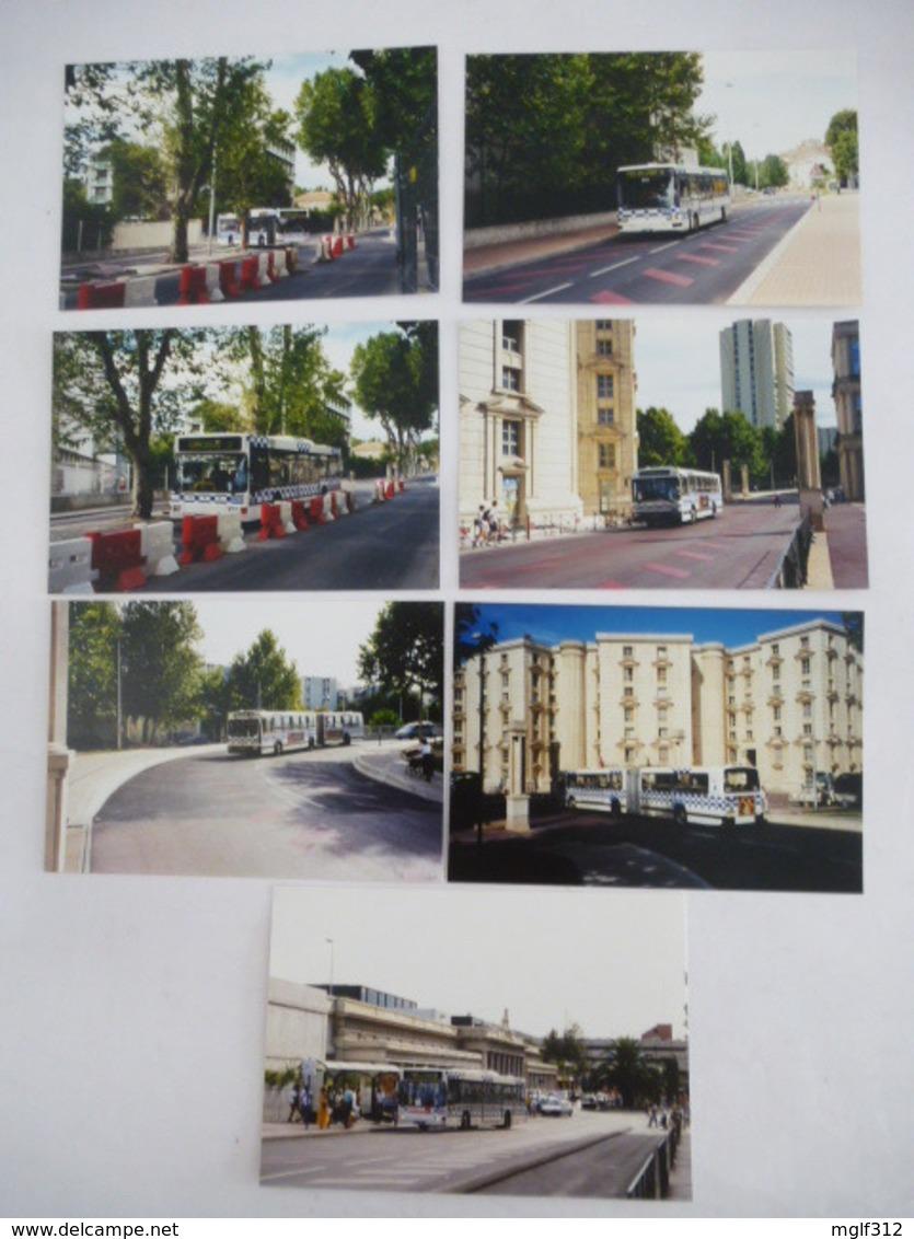 MONTPELLIER (34) BUS De La SMTU Avant Le Début Des Travaux De La Ligne De Tramway 1 - LOT De 7 Photos - Septembre 1998 - Automobiles