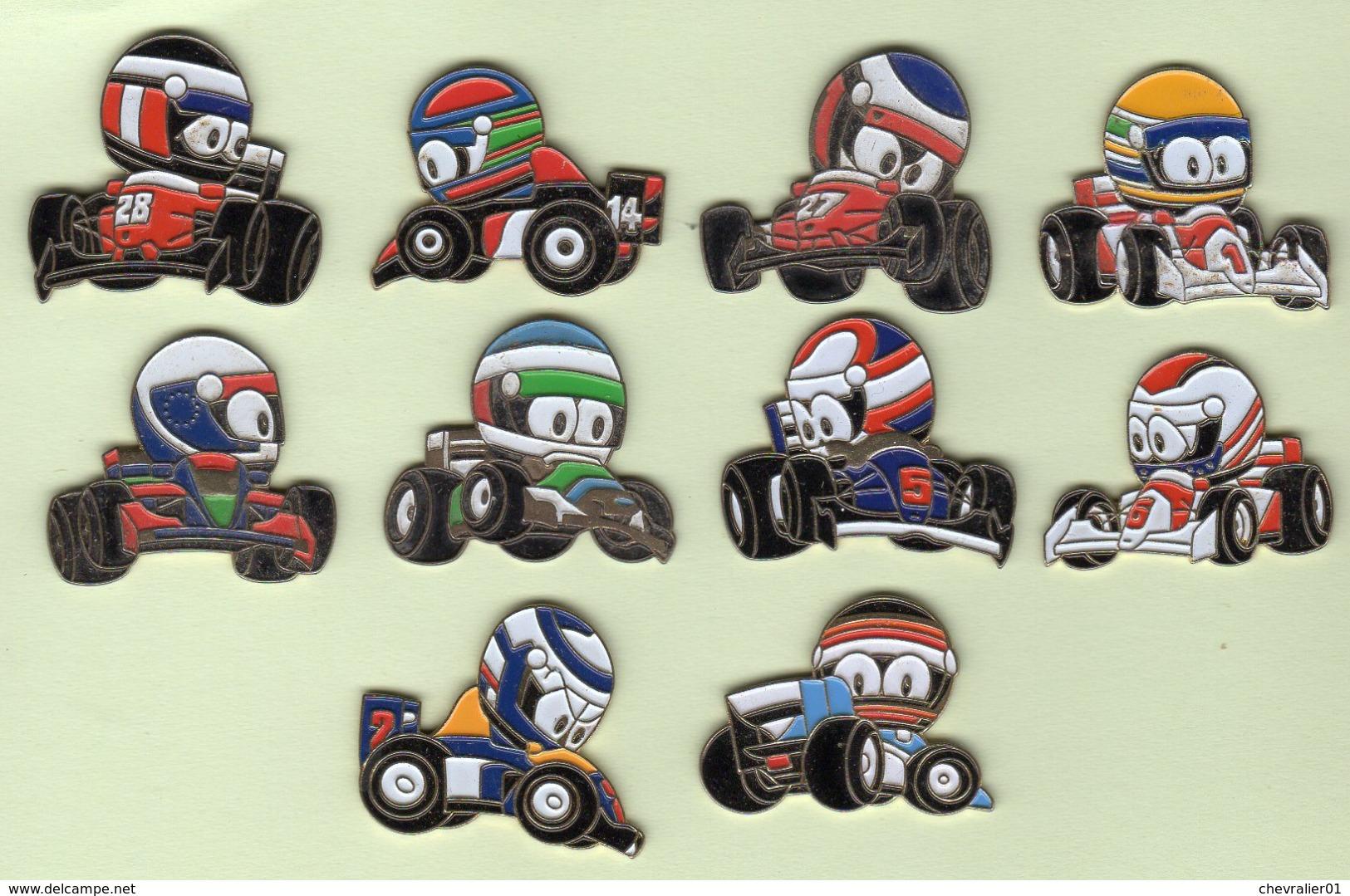 Pins-BD Belge_« Les As De La Formule 1 »_10 Pins Dessinés Par Clovis - Comics