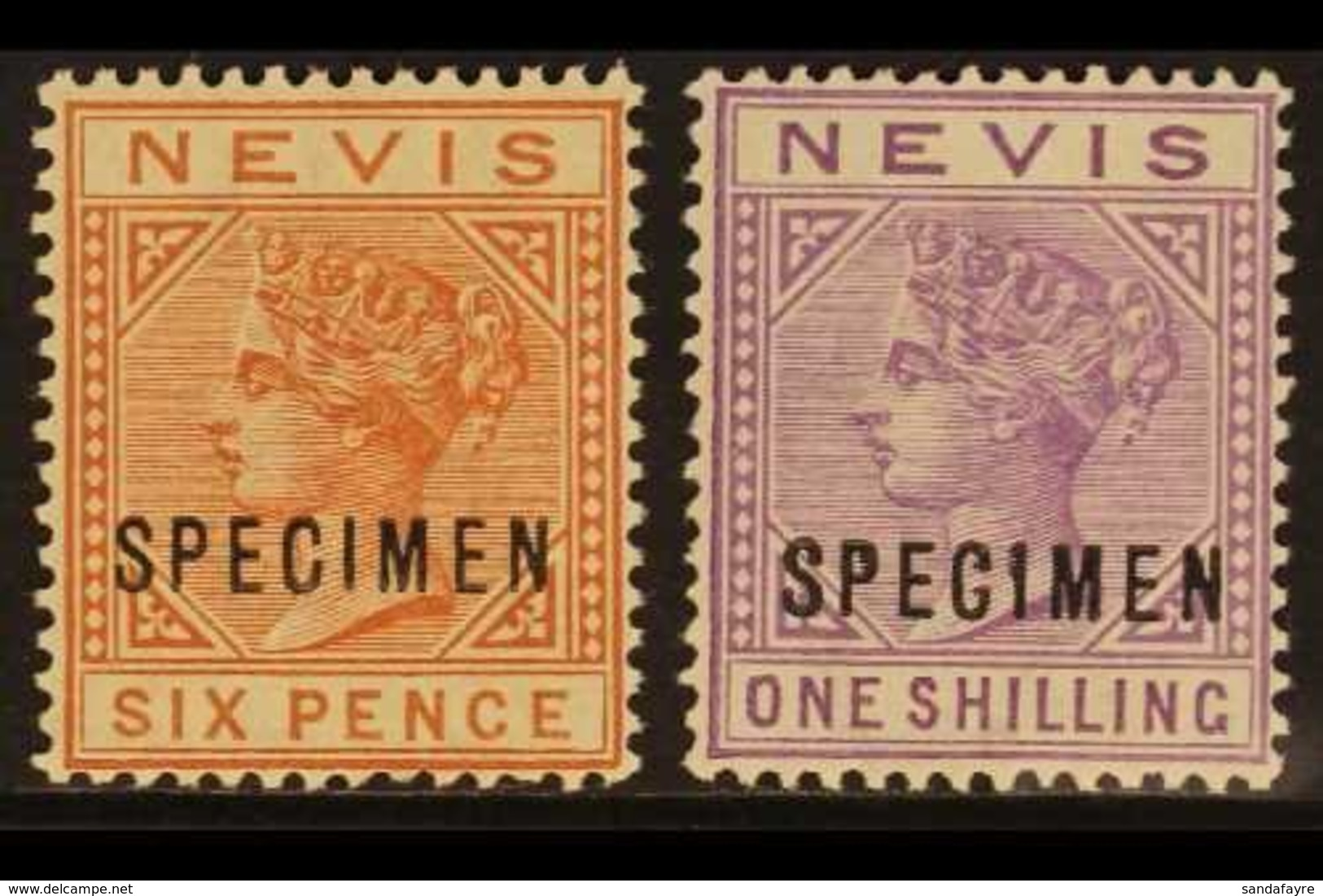 "1882-90 6d Chestnut And 1s Pale Violet, Overprinted ""SPECIMEN"", SG 33/34s, Very Fine Mint. (2) For More Images, Please V - St.Christopher-Nevis-Anguilla (...-1980)"