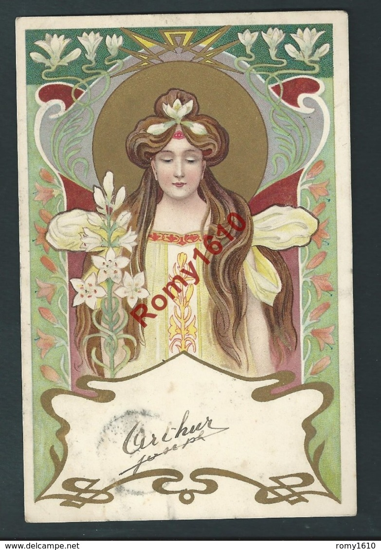 Magnifique Série De 4 Lithographies  Art Nouveau. Envoyées à La Même Personne En 1901. Voir  Les 8 Scans. - Illustrators & Photographers