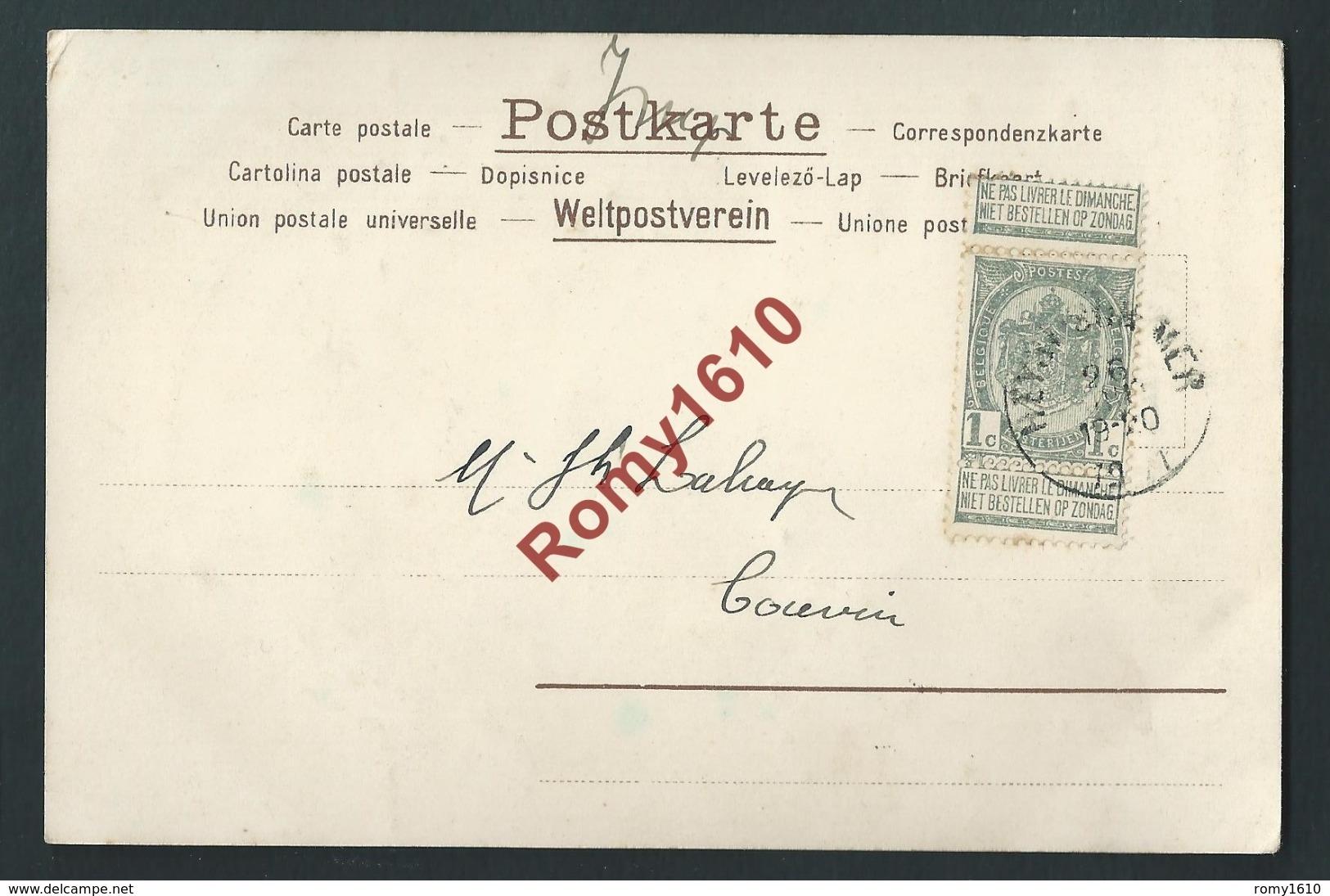 Magnifique Série De 4 Lithographies  Art Nouveau. Envoyées à La Même Personne En 1901. Voir  Les 8 Scans. - 1900-1949