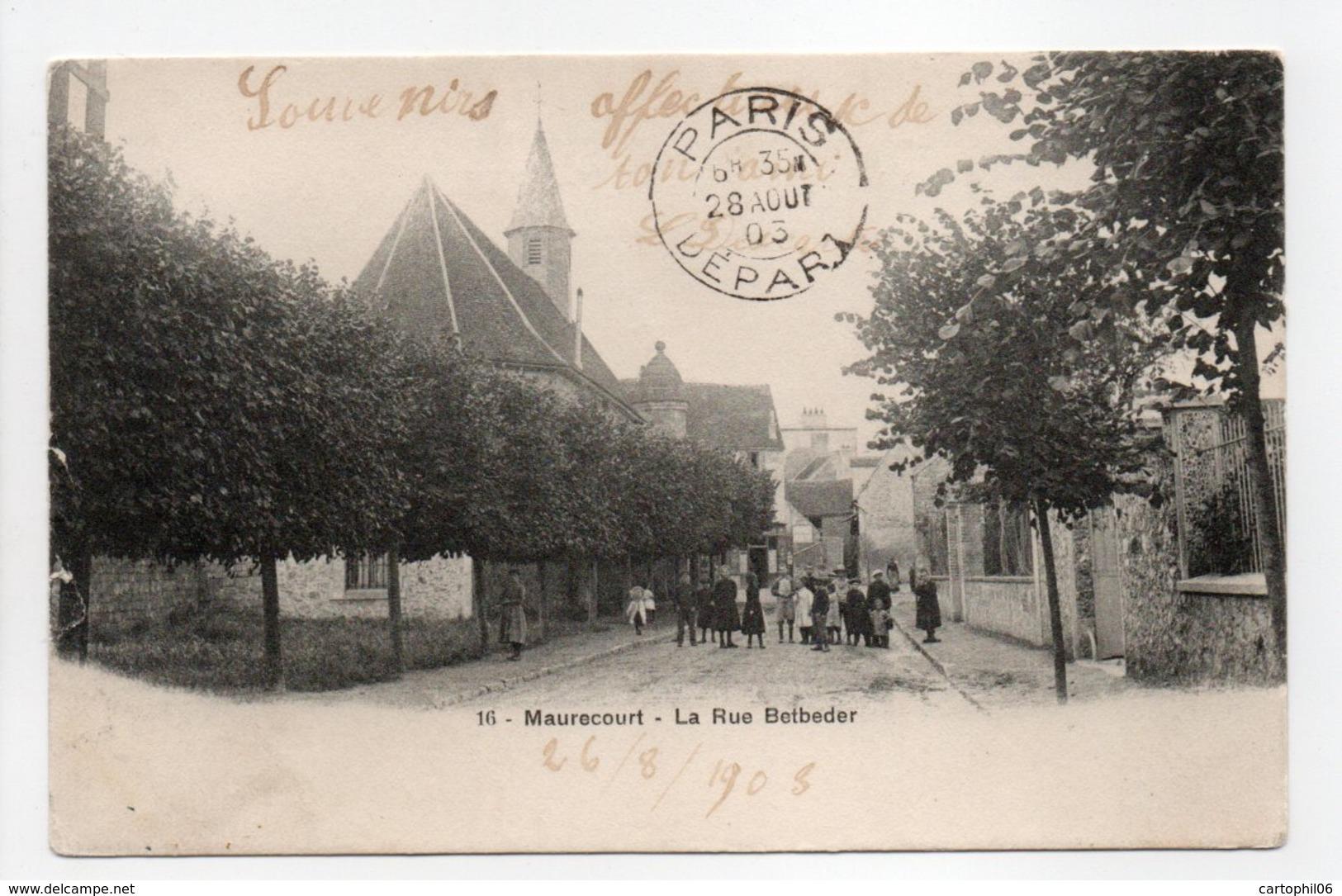 - CPA MAURECOURT (78) - La Rue Betbeder 1903 (avec Personnages) - Photo Breger N° 16 - - Maurecourt