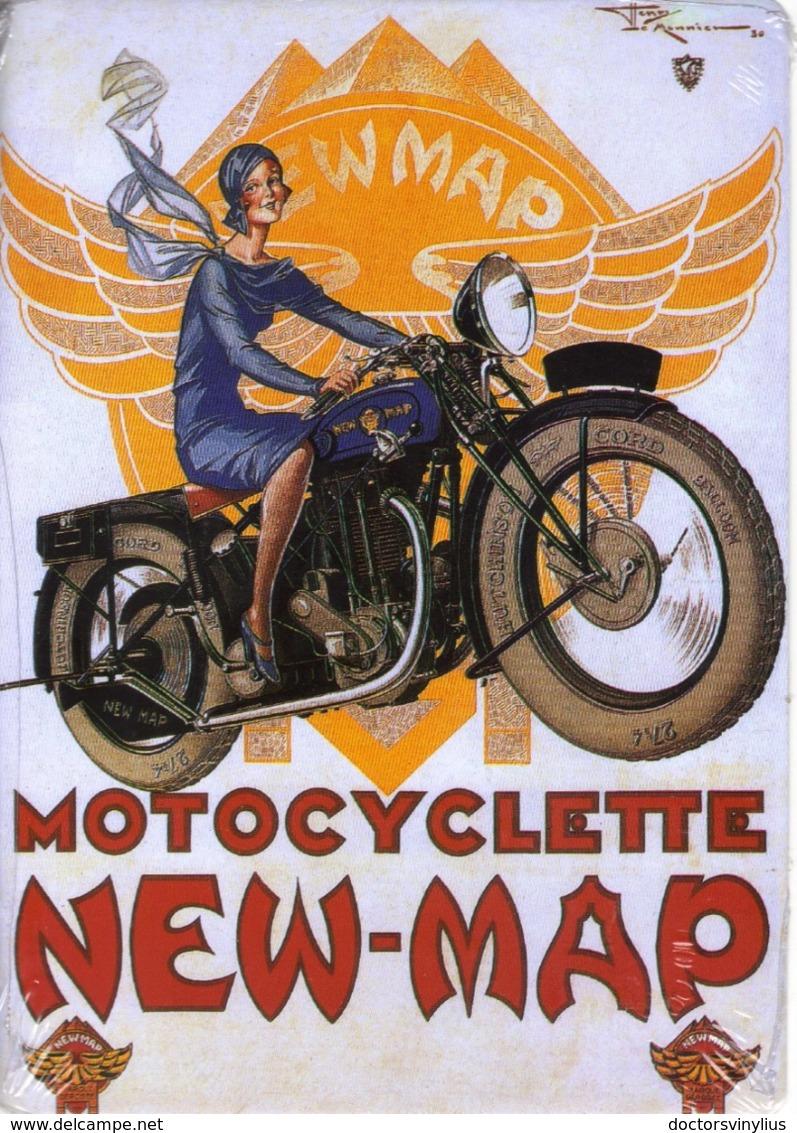 PUBLICITE MOTOCYCLETTE NEW-MAP - CARTE METAL 15X21 - EDITIONS CLOUET - SOUS BLISTER - Autres