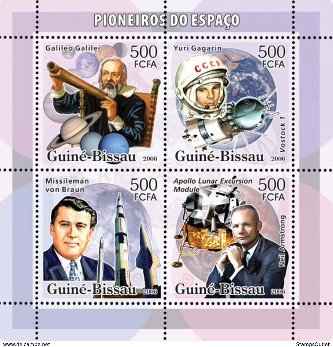 Guinea - Bissau 2006 - Space Pioneers (Galileo, Gagarin, Braun, Armstrong..) 4v Y&T 2158-2161, Michel 3326-3329 - Guinea-Bissau