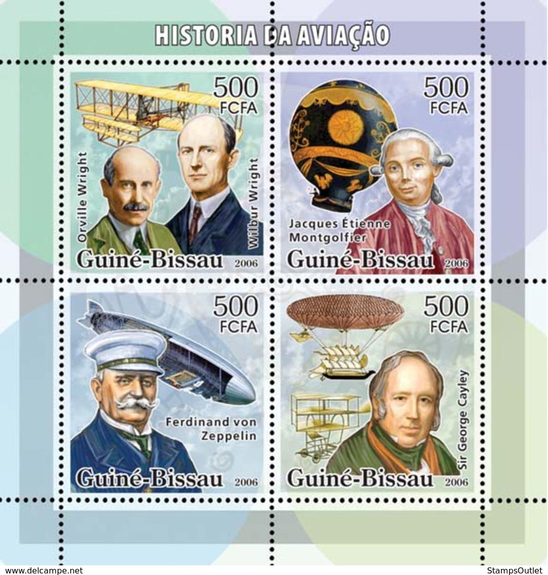 Guinea - Bissau 2006 - History Of Aviation (Wrights, Montgolfier, Zeppelin..) 4v Y&T 2174-2177, Michel 3330-3333 - Guinée-Bissau