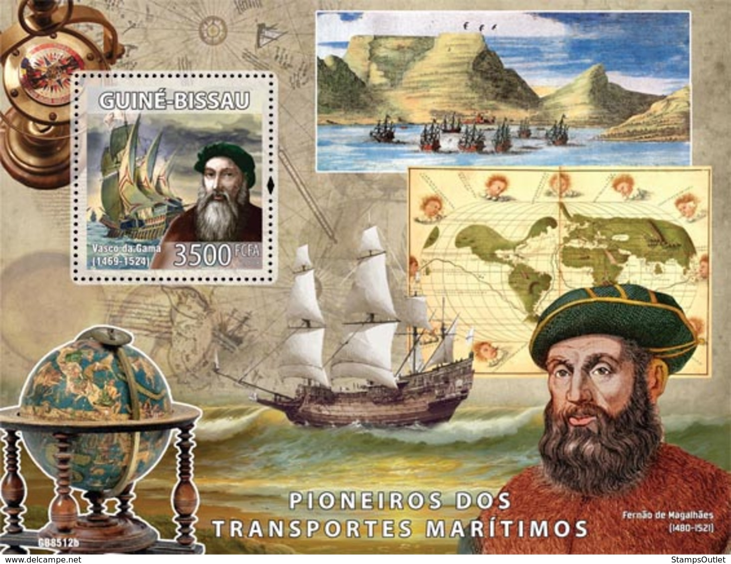 Guinea - Bissau 2008 - Pioneers Of Sea Transport (Vasco De Gama, F.Magelanes) S/s Y&T 435, Michel 4006/BL681 - Guinea-Bissau