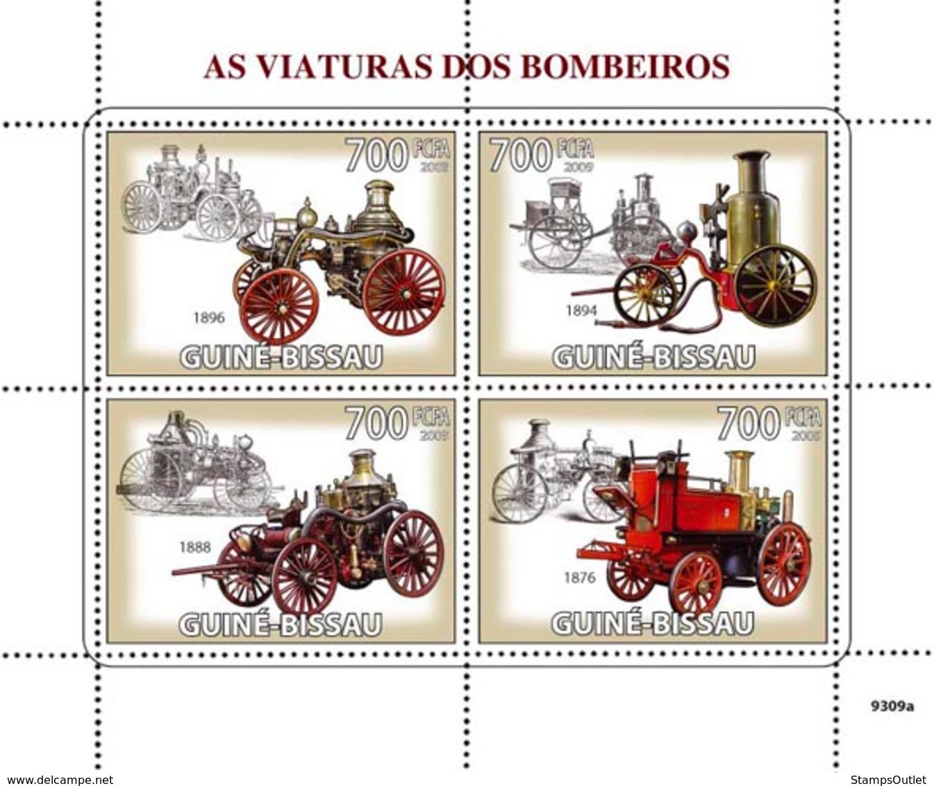 Guinea - Bissau 2009 - Old Fire Engines 4v Y&T 2934-2937, Michel 4271-4274 - Guinea-Bissau