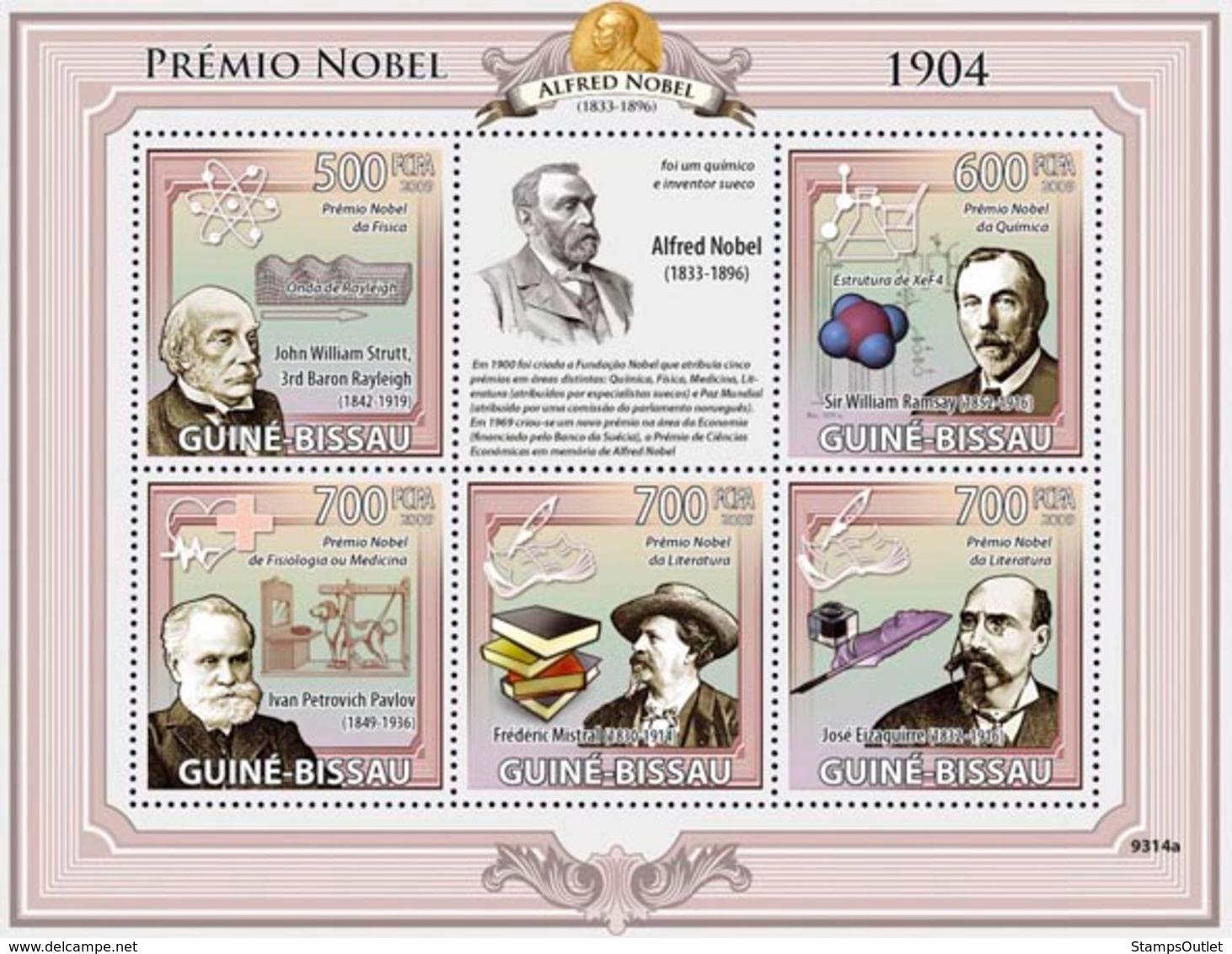 Guinea - Bissau 2009 - Nobel Prize 1904 (J.W.Strutt, W.Ramsay, I.P.Pavlov, F.Mistral) 5v Y&T 2960-2964, Michel 4248-4252 - Guinée-Bissau