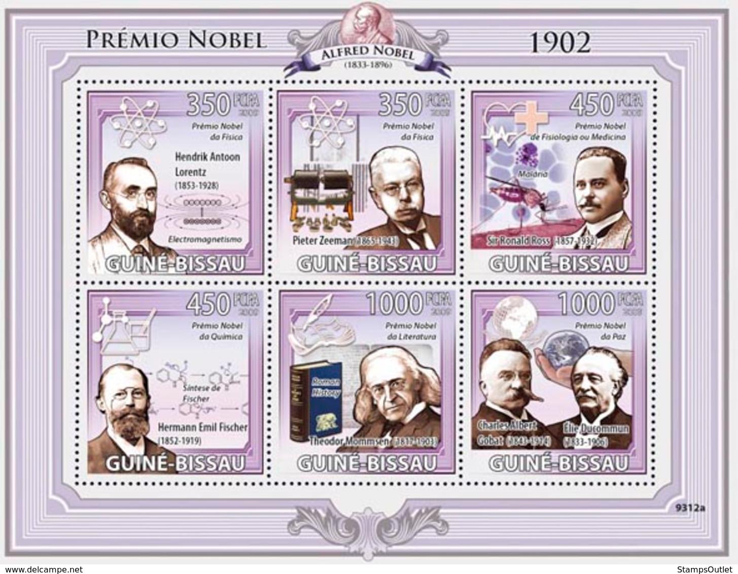 Guinea - Bissau 2009 - Nobel Prize 1902 (H.A.Lorentz, P.Zeeman, R.Ross, H.E.Fisher..) 6v Y&T 2948-2953, Michel 4236-4241 - Guinée-Bissau