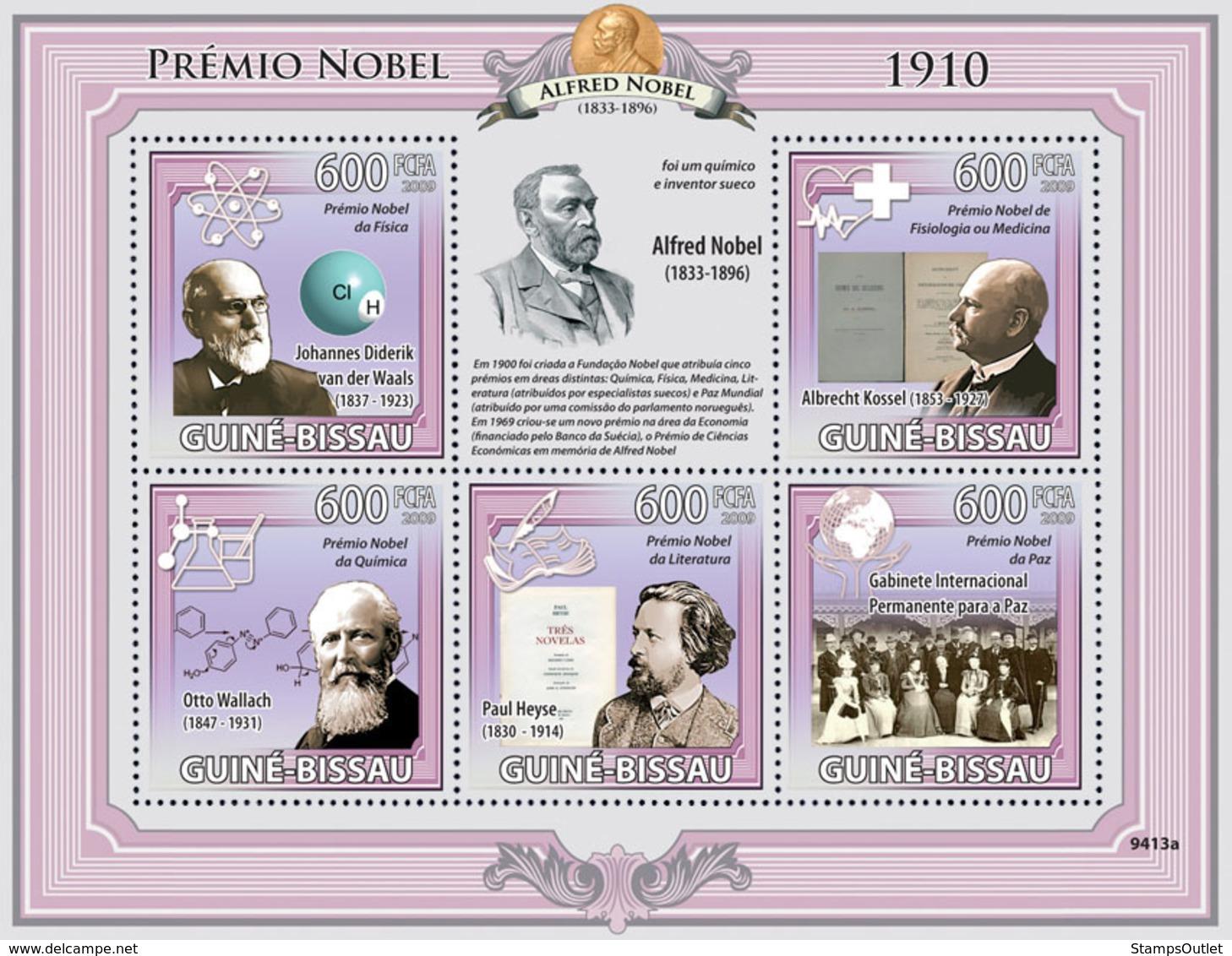 Guinea - Bissau 2009 - Nobel Prize 1910 (J.D.Waals, A.Kossel, O.Wallach, P.Heyese..) 5v Y&T 3038-3042, Michel 4338-4342 - Guinea-Bissau