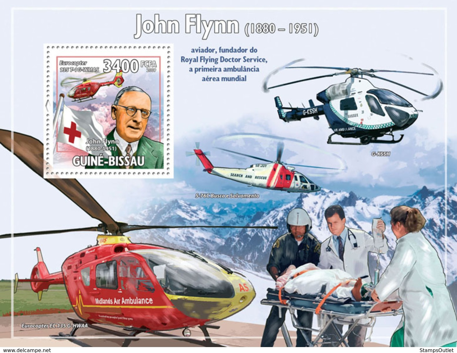 Guinea - Bissau 2009 - John Flynn (1880-1951), Helicopters & Red Cross S/s Y&T 487, Michel 4520/BL737 - Guinea-Bissau