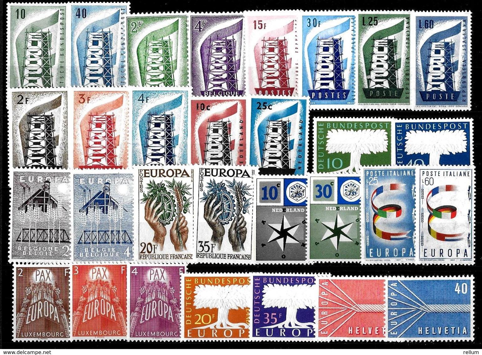Europa-CEPT 1956/1957 - 2 Années Complètes, Qualité LUXE ** - Europa-CEPT