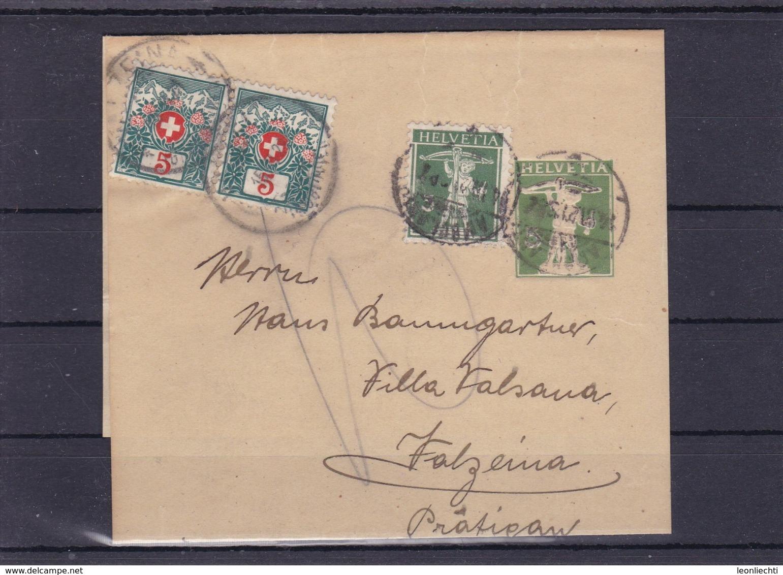 Streifband: 1915, N°. 32. Mit Zusatzfrankatur: Zu: 125 III / Mi: 113 III. + Nachportomarke: Paar Zu:31 / Mi: 31 - Ganzsachen