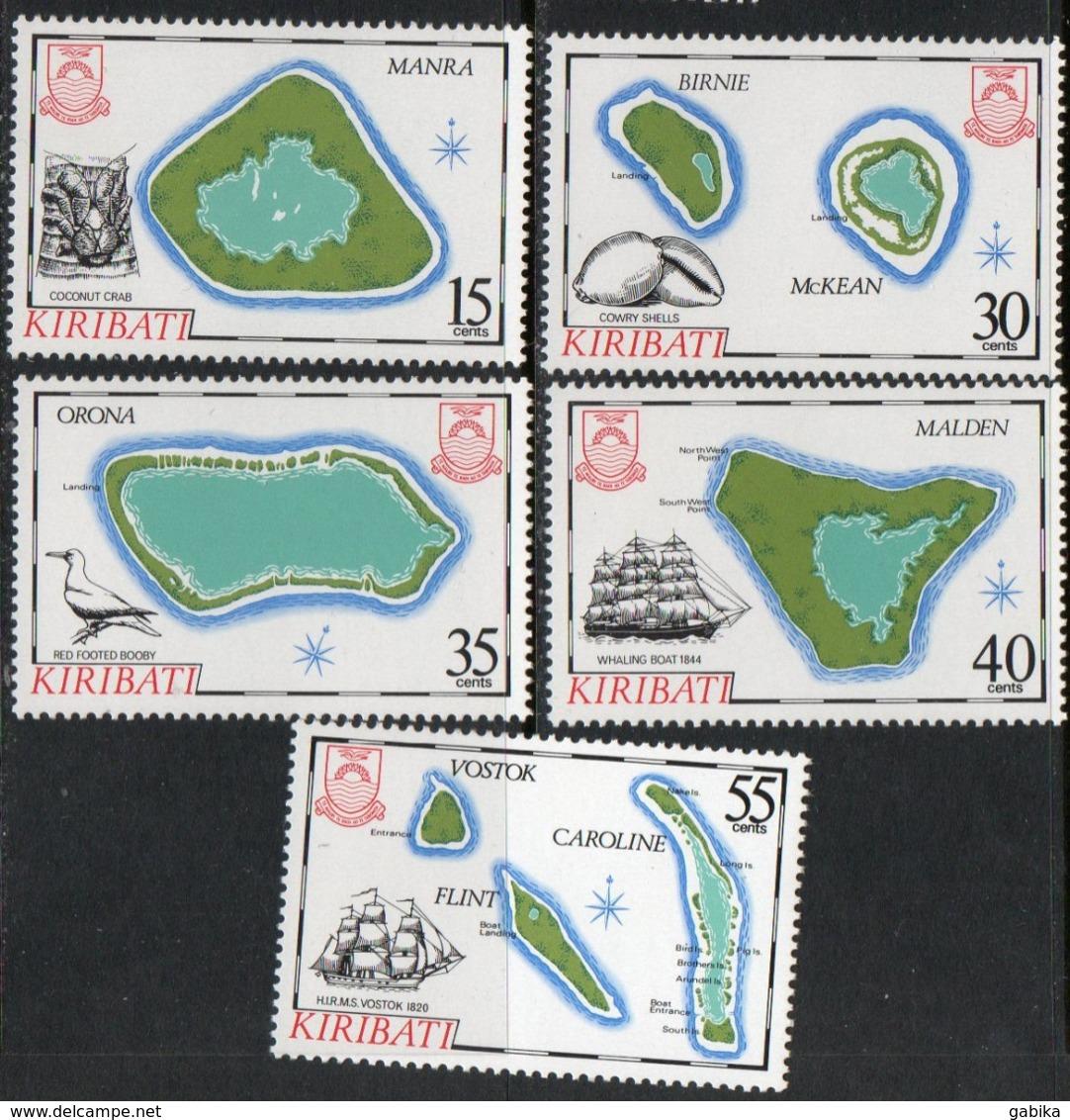 Kiribati 1986 Scott 475-479 MNH Map - Kiribati (1979-...)