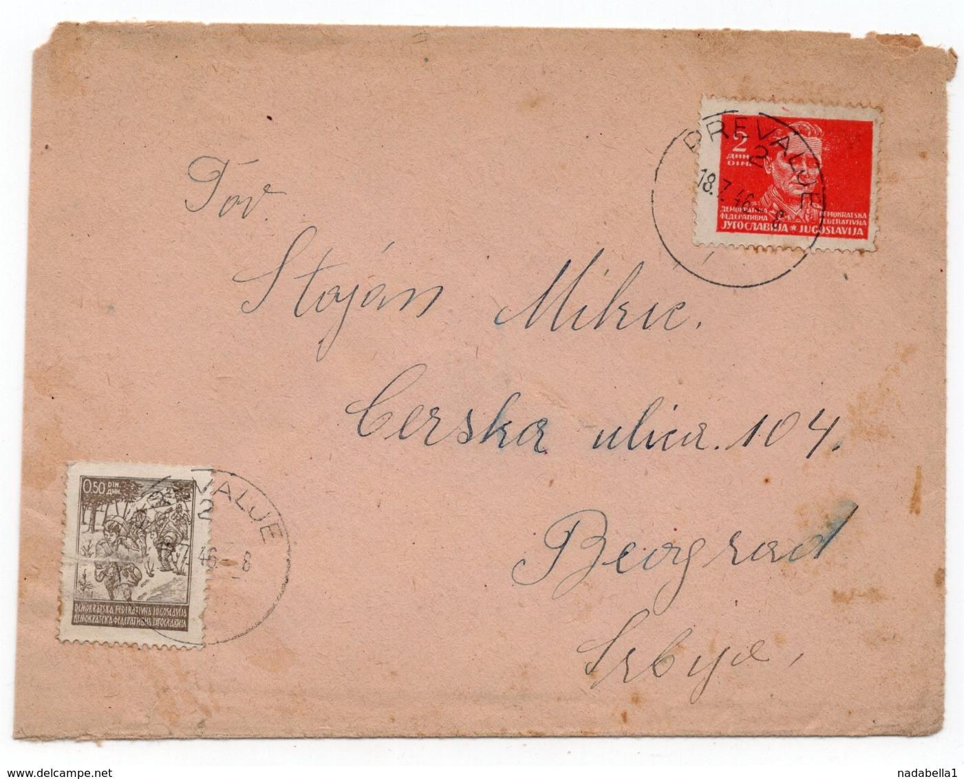 18.07.1946. YUGOSLAVIA, SLOVENIA, KORUSKA, PREVALJE TO BELGRADE, TITO - 1945-1992 Socialistische Federale Republiek Joegoslavië