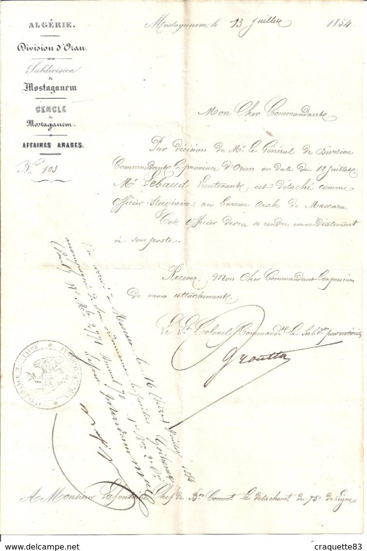 COURRIER-ALGERIE-DIV ORAN-Lt COLONEL COMMANDANT  LA SUBDIVISION PAR INTERIM   MOSTAGANEM- 1854 - - Documents