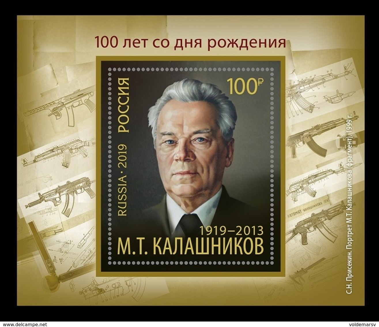 Russia 2019 Mih. 2761 (Bl.281) Portrait Of Mikhail Kalashnikov. Painting Of Sergey Prisekin MNH ** - 1992-.... Federación