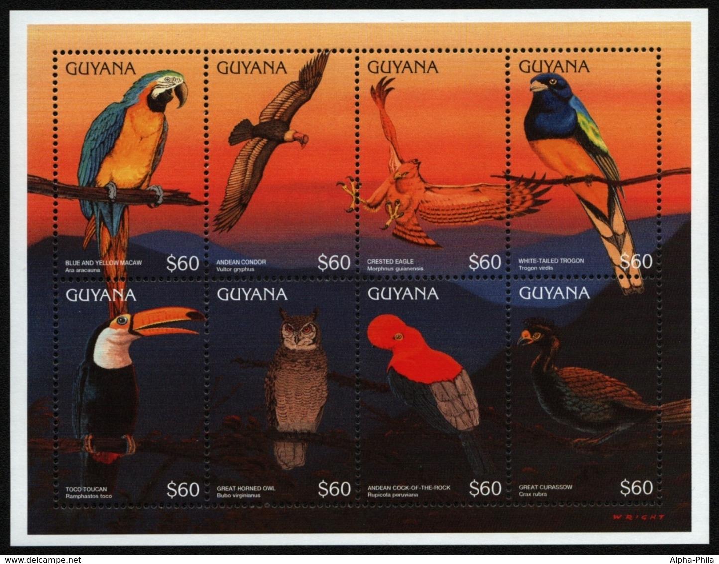 Guyana 1996 - Mi-Nr. 5563-5570 ** - MNH - Vögel / Birds - Guyana (1966-...)