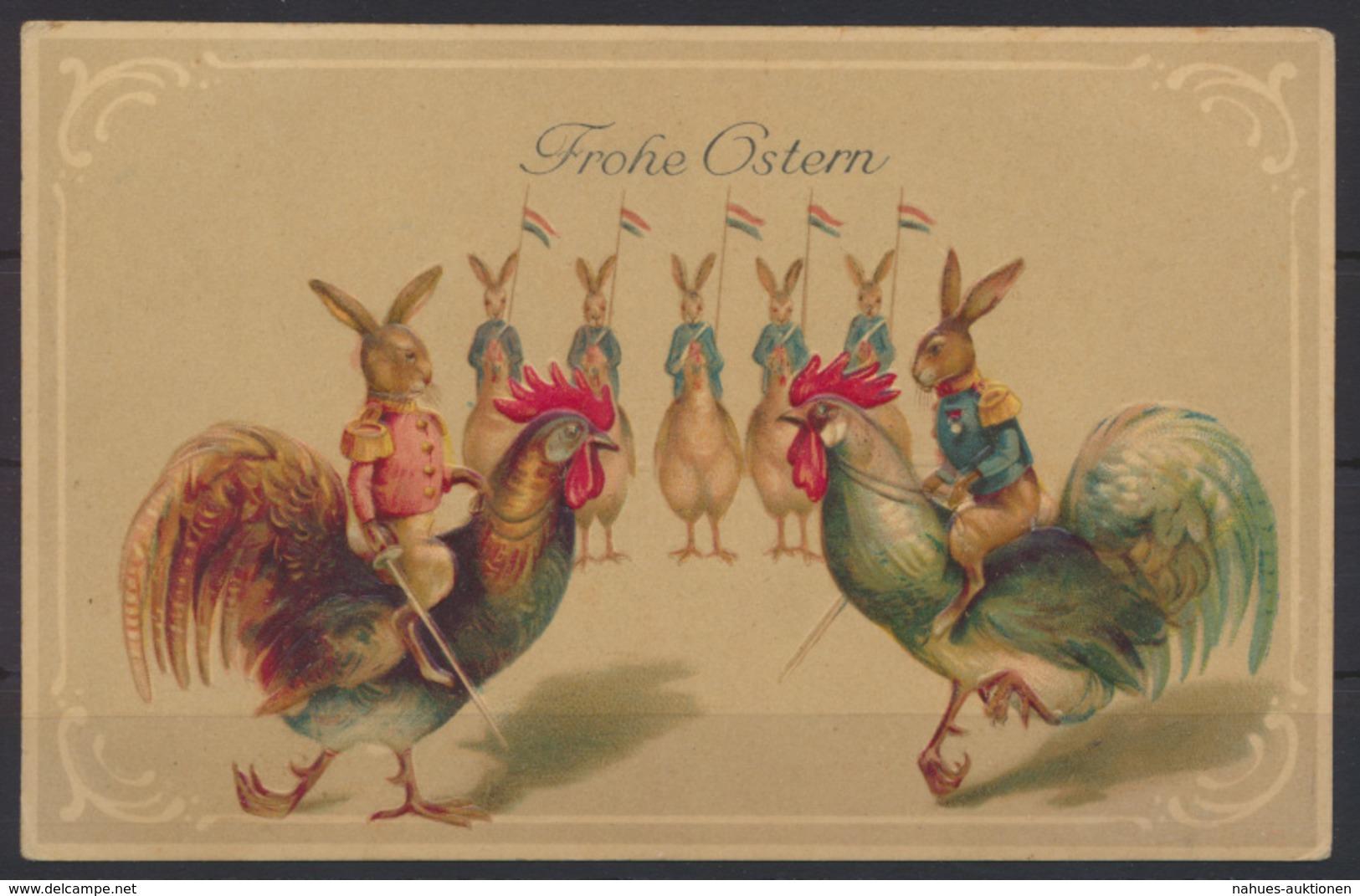Tolle Präge Ansichtskarte Ostern Geflügel Hahn Glückwunsch Ungelaufen - Ostern