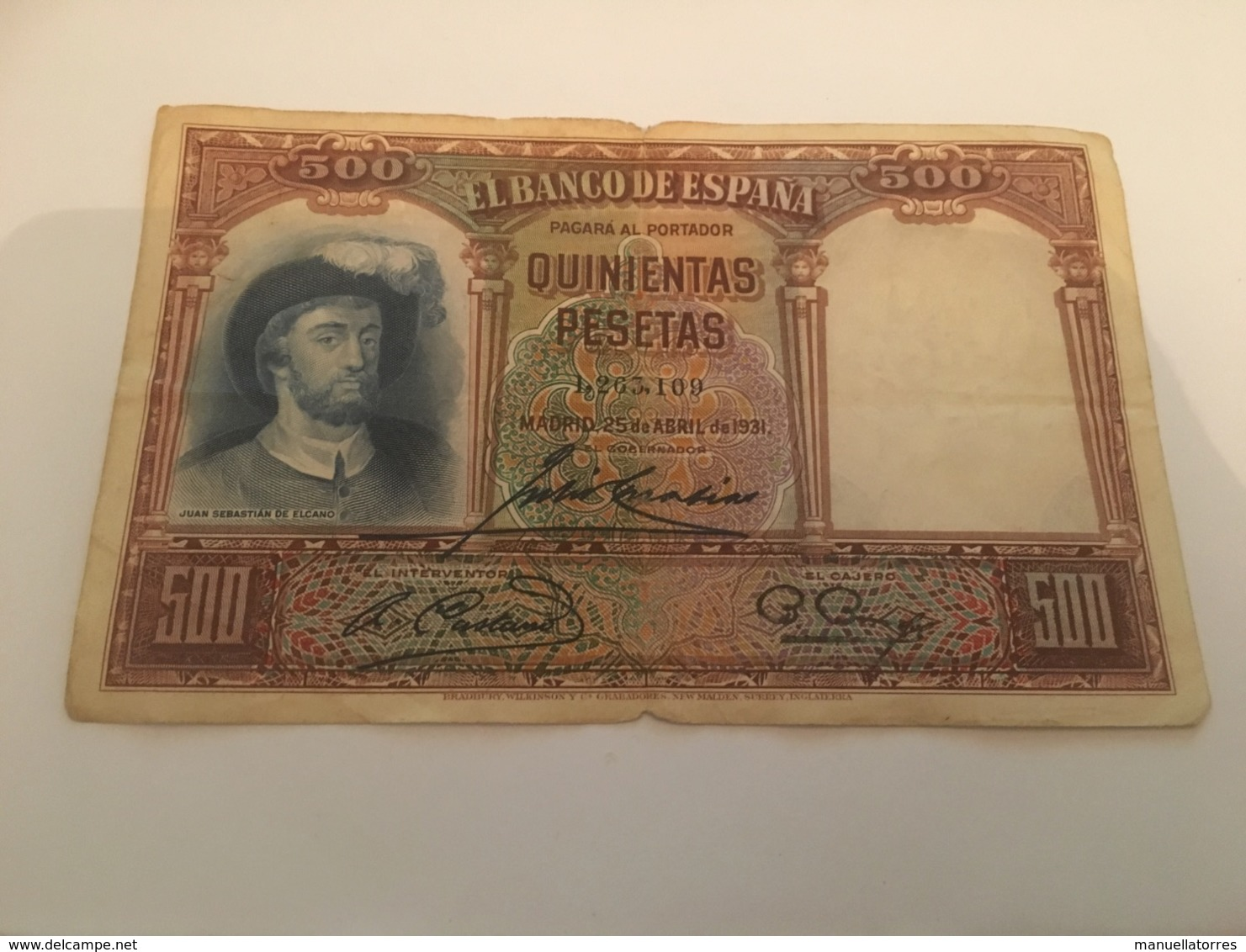 Billet 500 Pesetas Espagne 1931 - [ 2] 1931-1936 : Republic