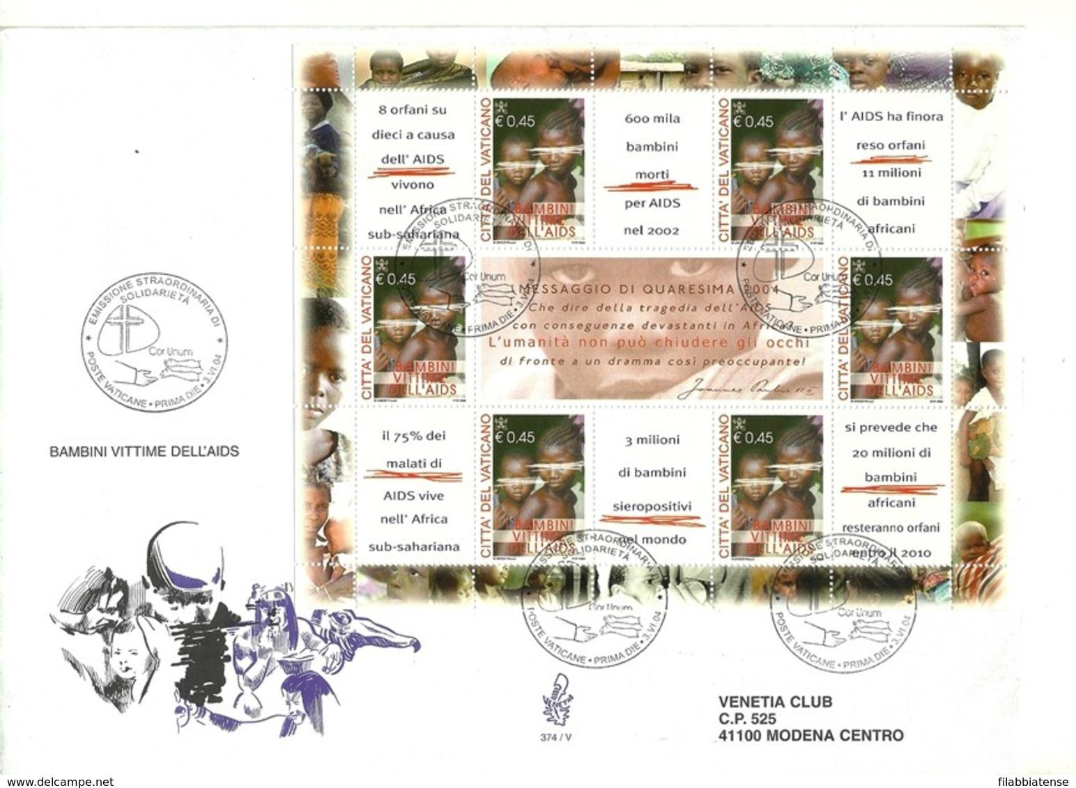 2004 - Vaticano BF 31 Vittime AIDS       FDC - Malattie