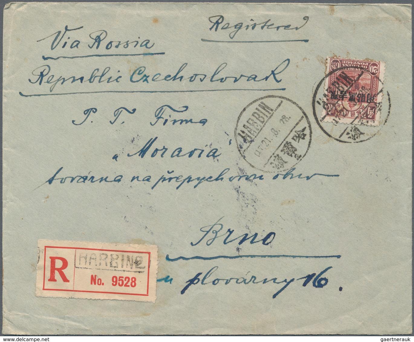 "Mandschuko (Manchuko): 1927/36 (ca.), Ki-hei Ovpt. 20 C. Tied ""HARBIN 21.8.28"" To Registered Cover T - 1932-45 Manciuria (Manciukuo)"