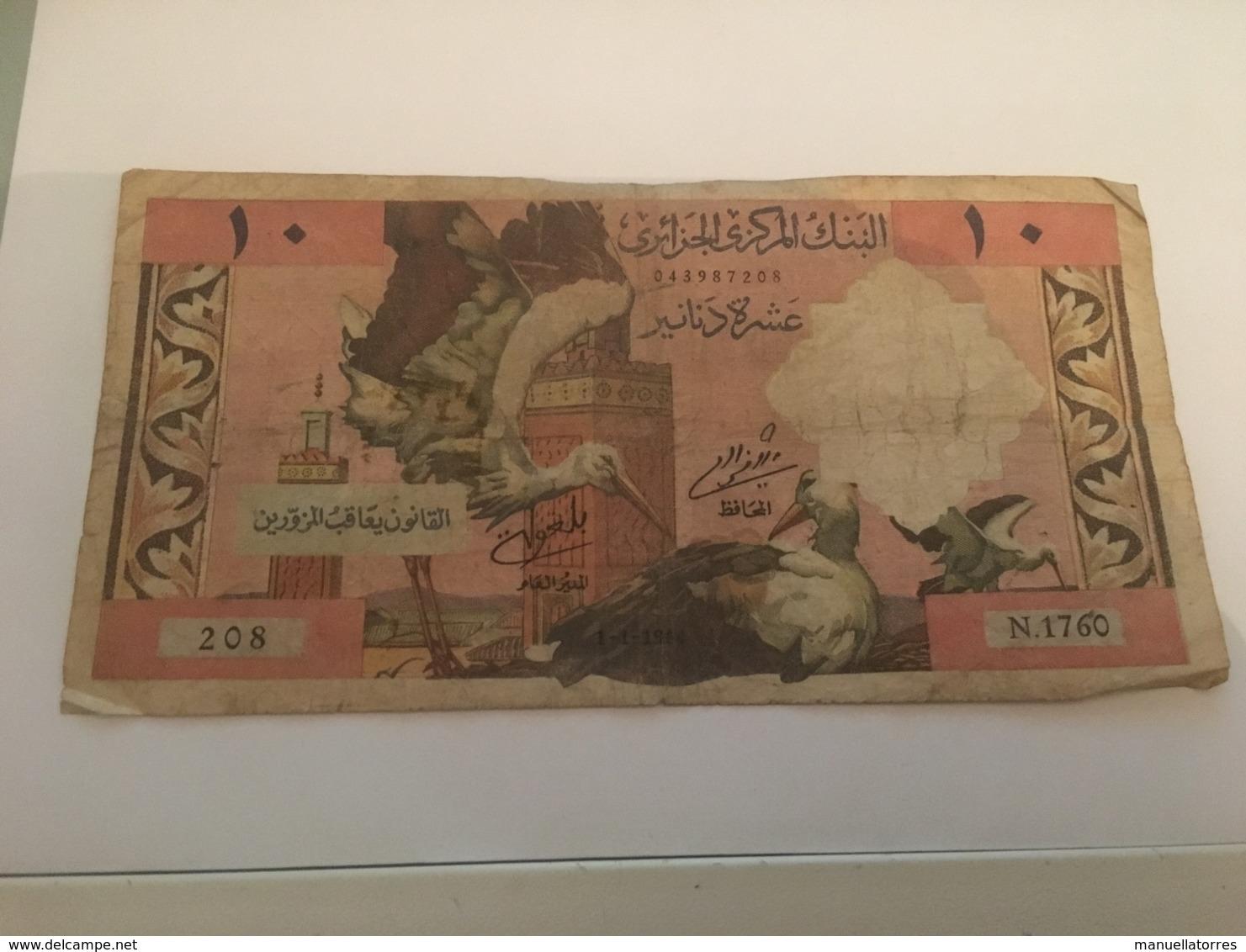 Billet 10 Dinars Algerie 1964 - Algerije