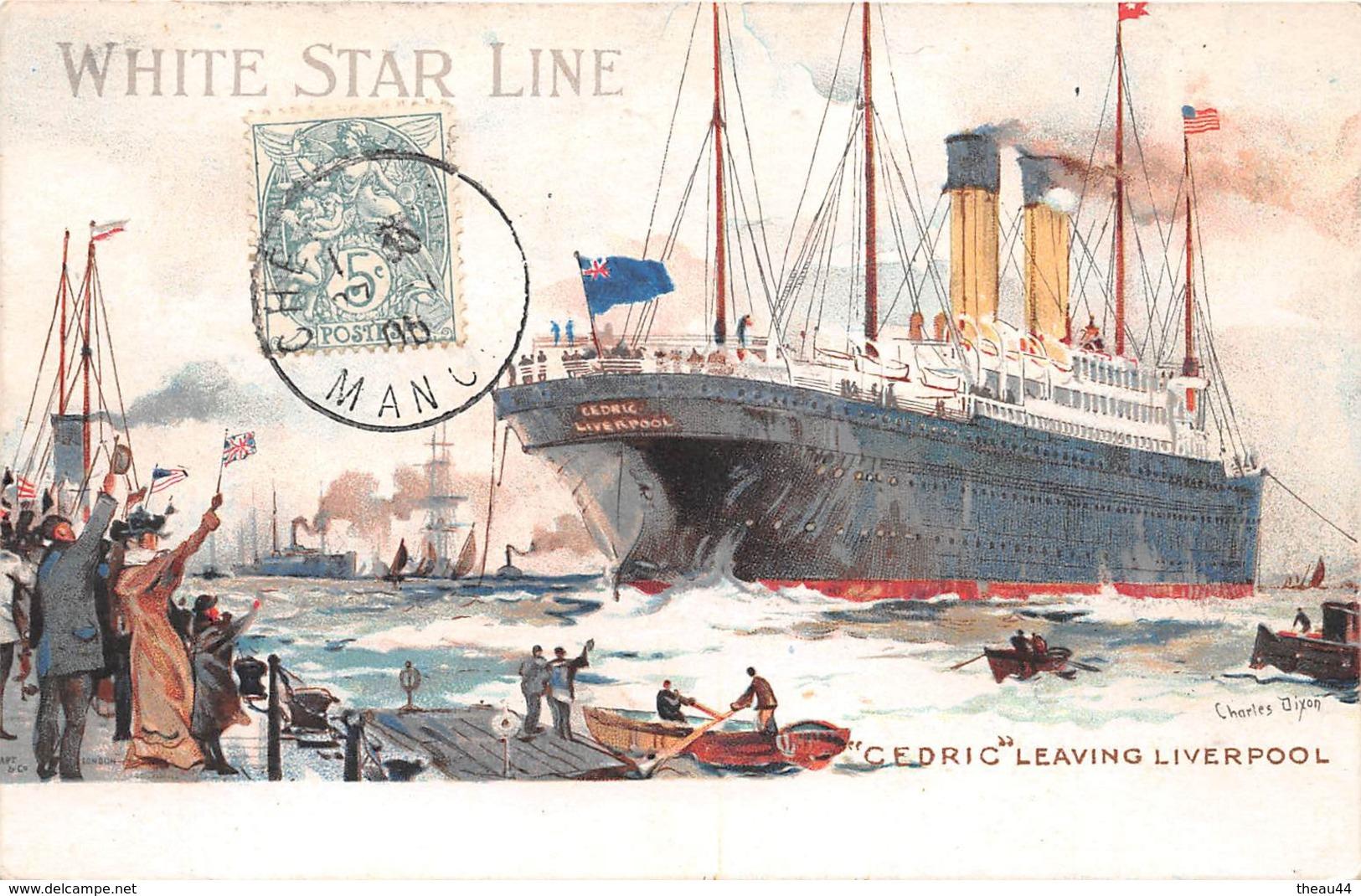 """¤¤   -  Illustrateur """" Charles DIXON """"   - Le Paquebot """" CEDRIC """" De La White Star Line    -  ¤¤ - Dampfer"""