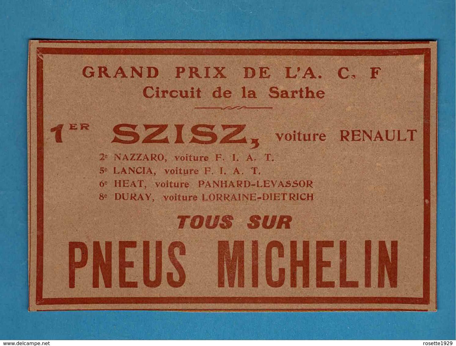 Ancienne Pub Michelin,GRAND PRIX DE L'A C F CIRCUIT DE LA SARTHE - Advertising