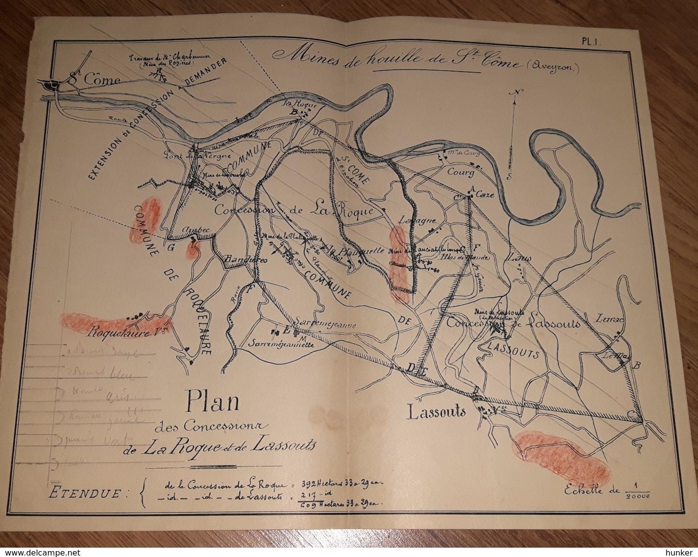PLAN  Mine Compagnie Des Mines De Houille De SAINT COME ESPALION Aveyron - Planches & Plans Techniques