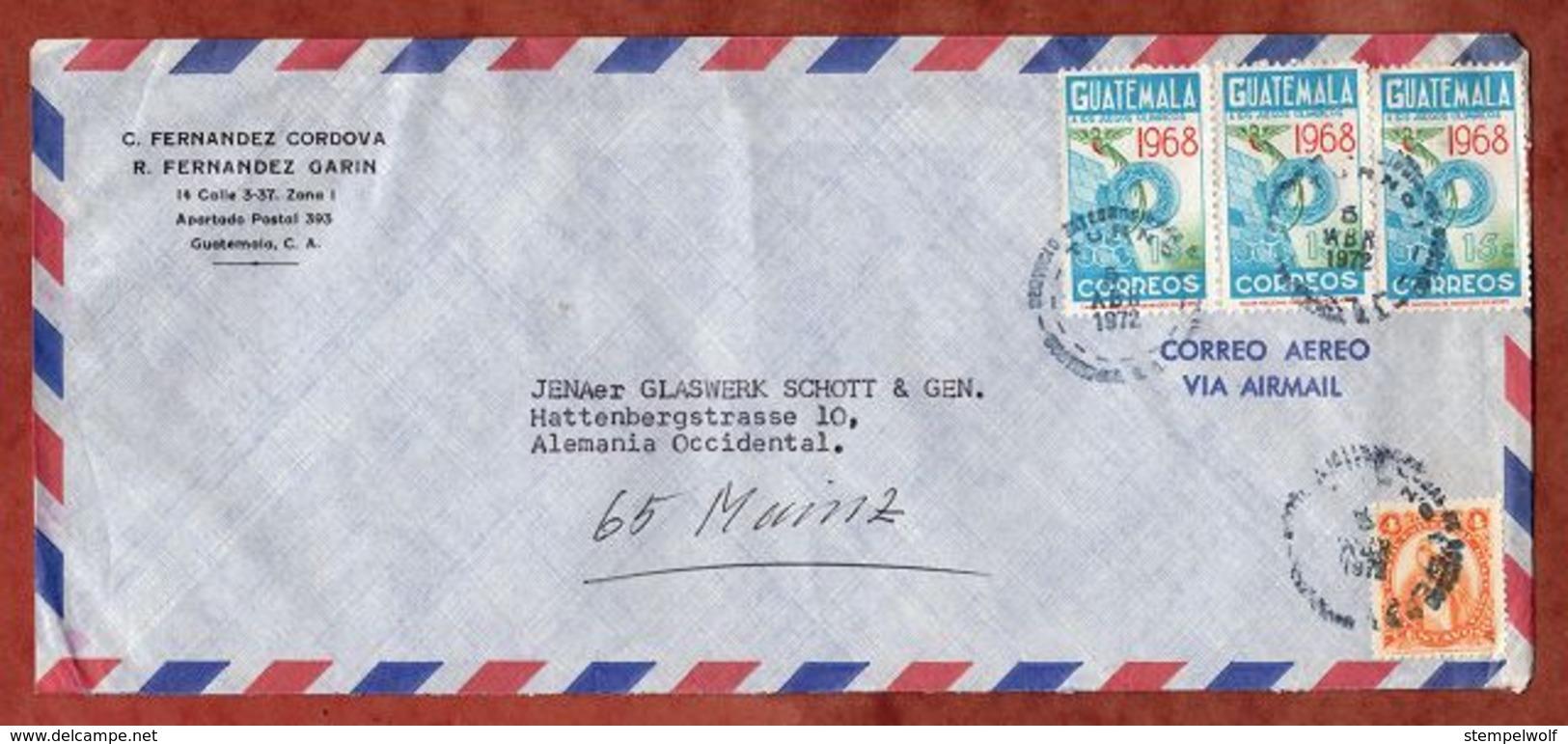 Luftpost, Olympische Spiele Mexiko U.a., Guatemala Nach Mainz 1972 (79820) - Guatemala