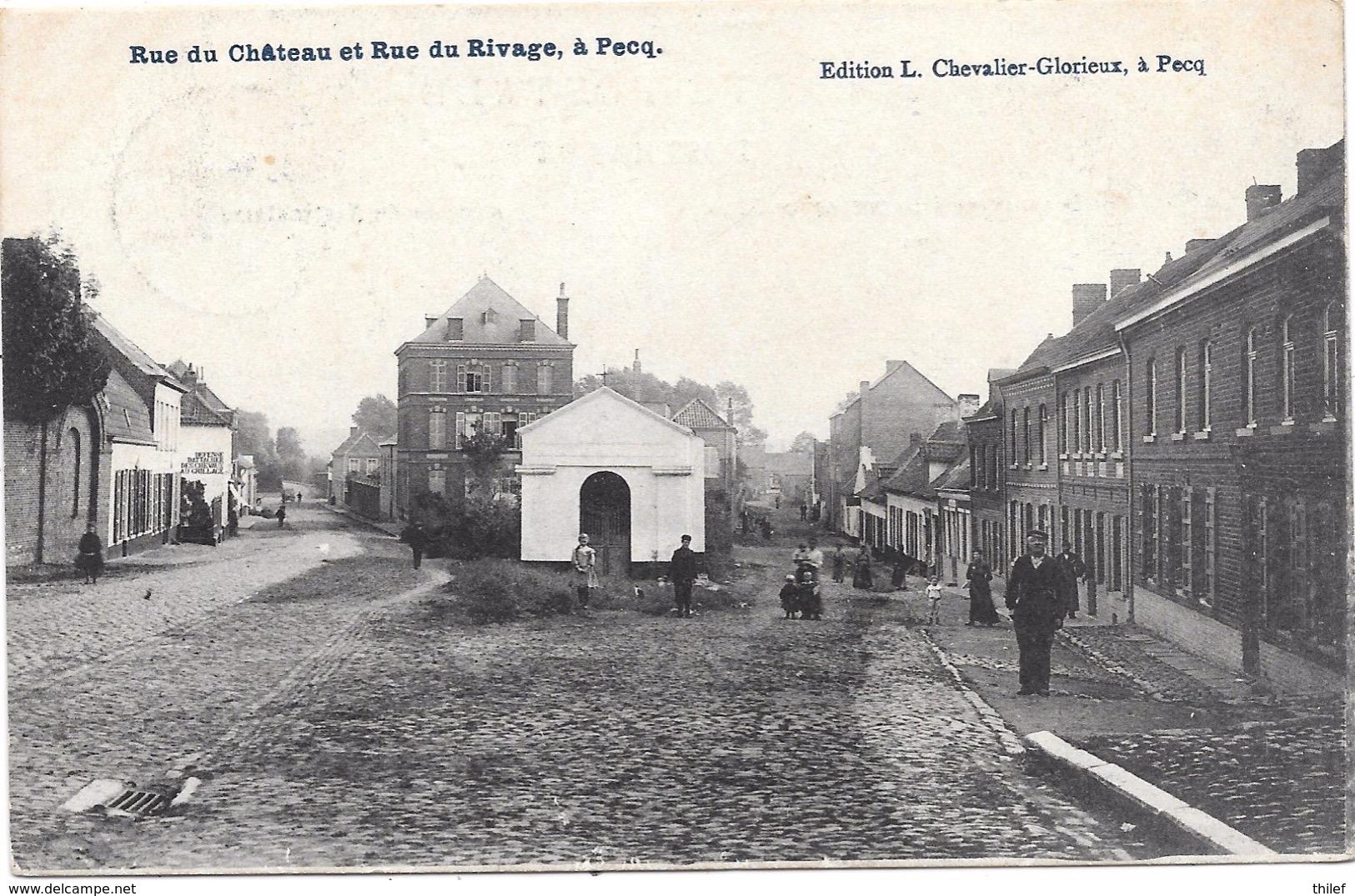 Pecq NA22: Rue Du Château Et Rue Du Rivage 1908 - Pecq