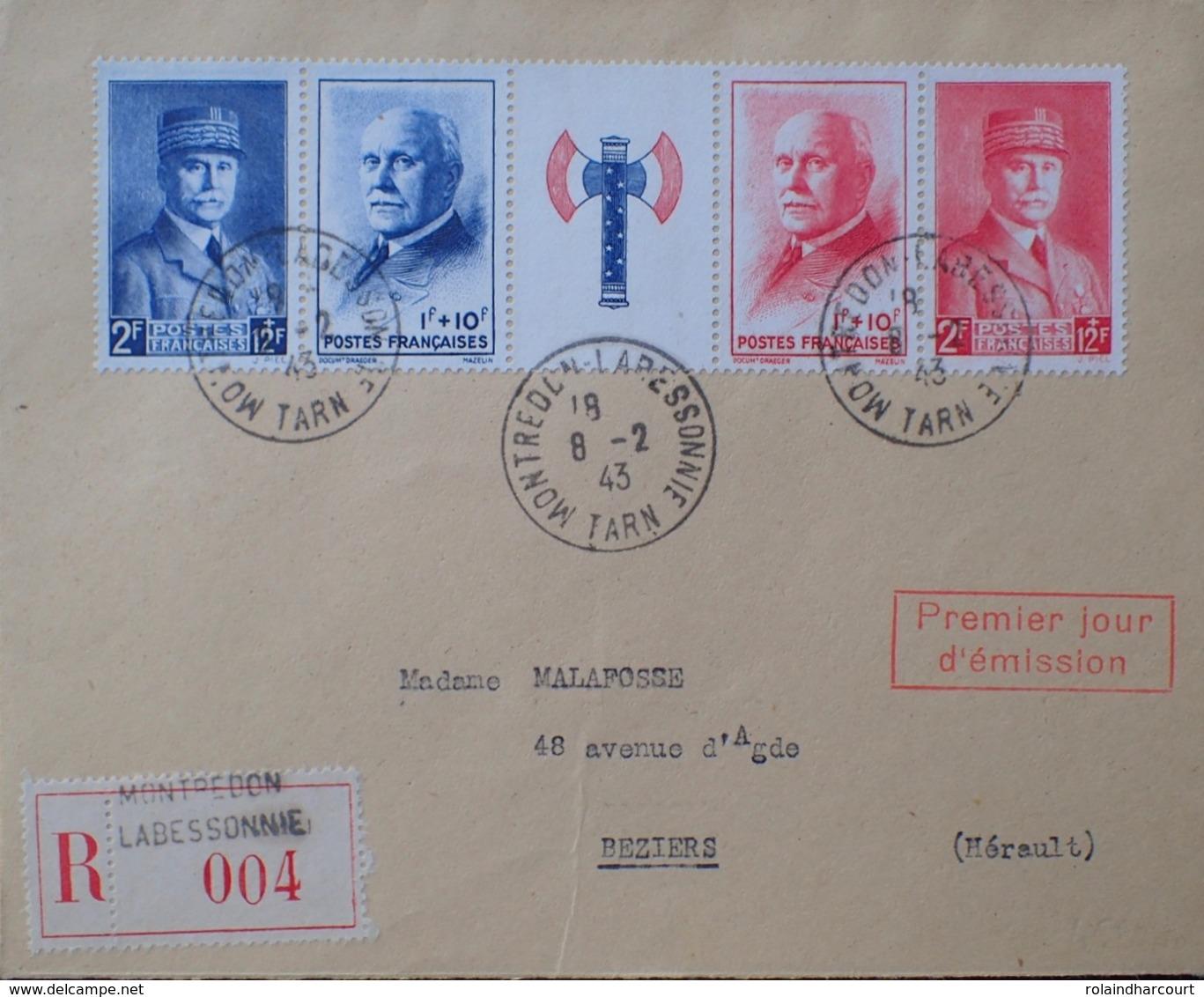 R1947/237 - TYPE PETAIN - BANDE N°571A Seule Sur ✉️ RECOMMANDEE Avec CàD 1er Jour D'émission (8 FEVRIER 1943) - France