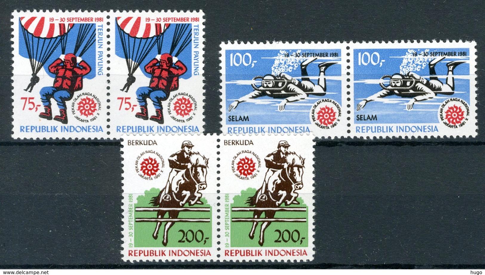 INDONESIE: ZB 1062/1064 MNH** 1981 10de Nationale Sportweek (2 Stuks) - Indonesia