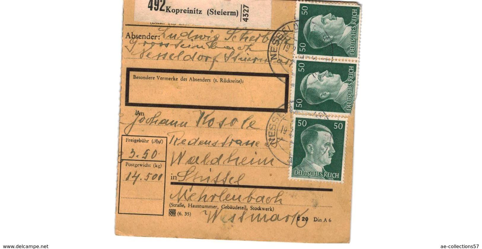 Colis Postal  / De Kopreinitz  /  Pour Waldheim - Alemania
