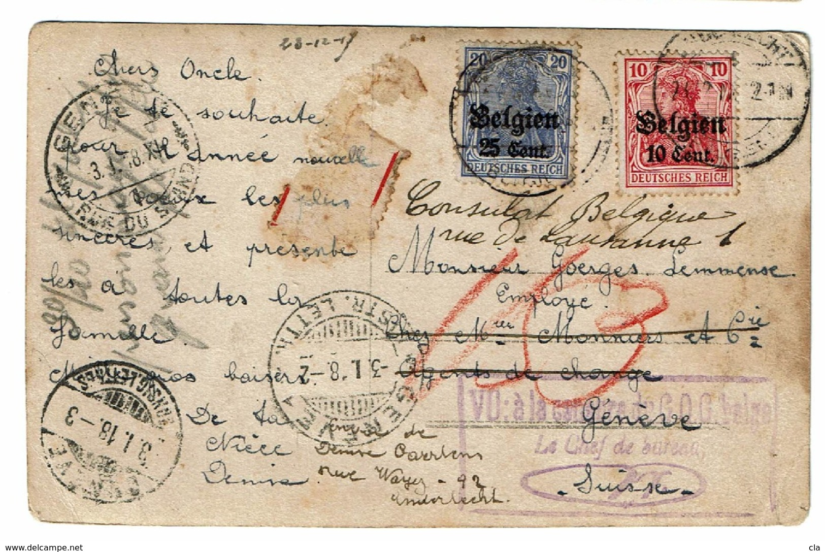 OC 14&18  Carte Postale Recom. (étiquette Enlevée Pour Lecture) Obl Anderlecht ? Vers La Suisse Voir Cachets Et Griffes - [OC1/25] General Gov.