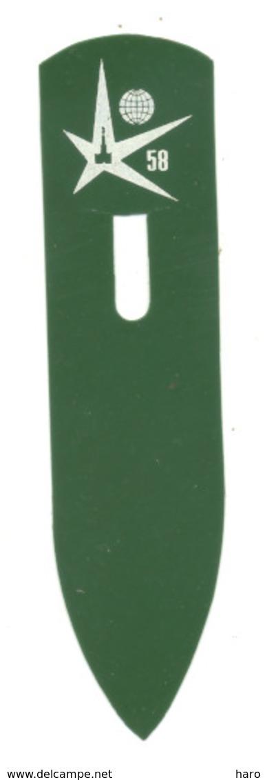BRUXELLES Exposition 1958 - Expo 58 -  Marque Pages En Plastique    (b260) - Bookmarks