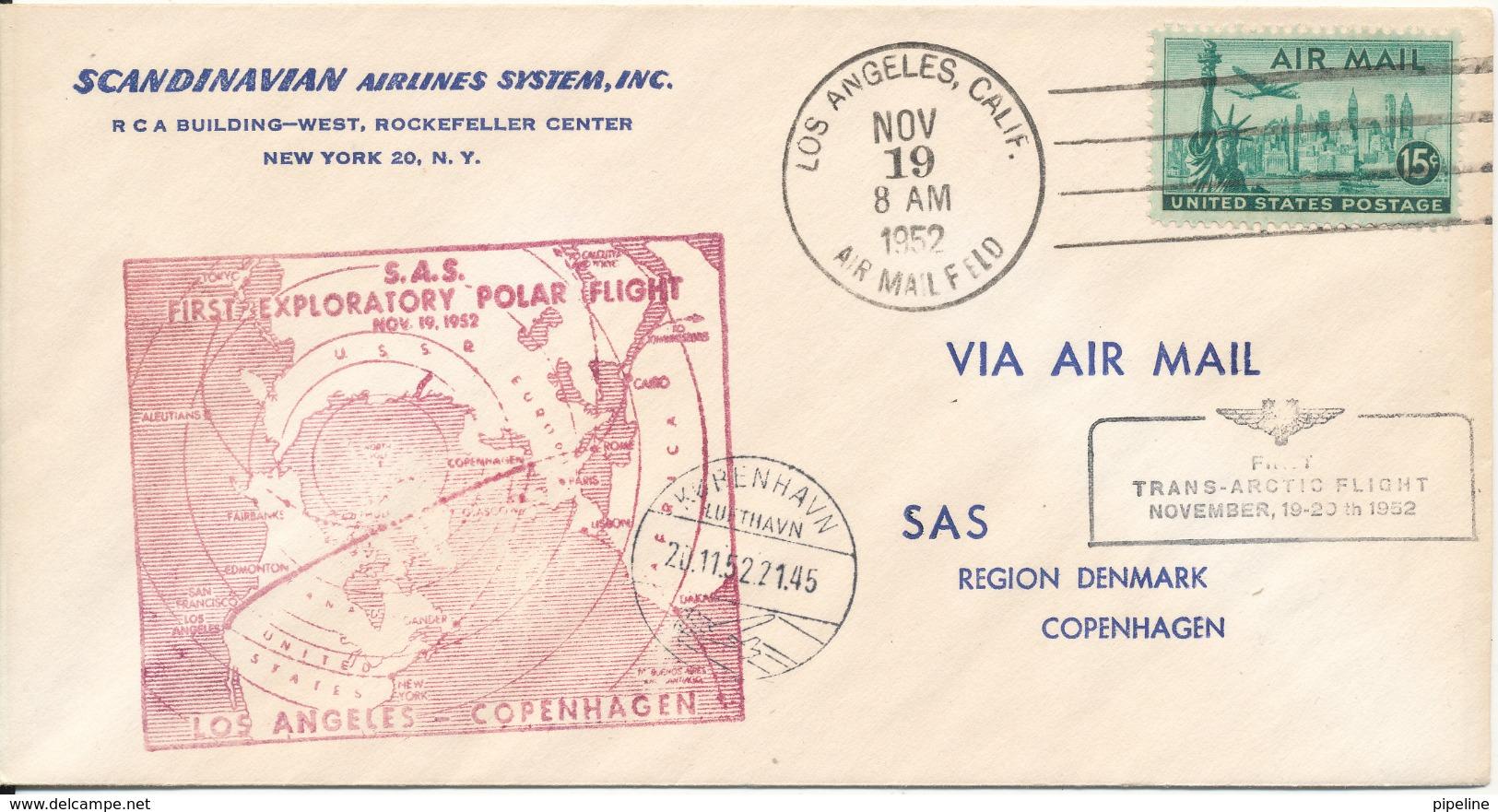 USA SAS First Trans Arctic Flight Los Angeles - Copenhagen Via Greenland 19-11-1952 - Polar Flights