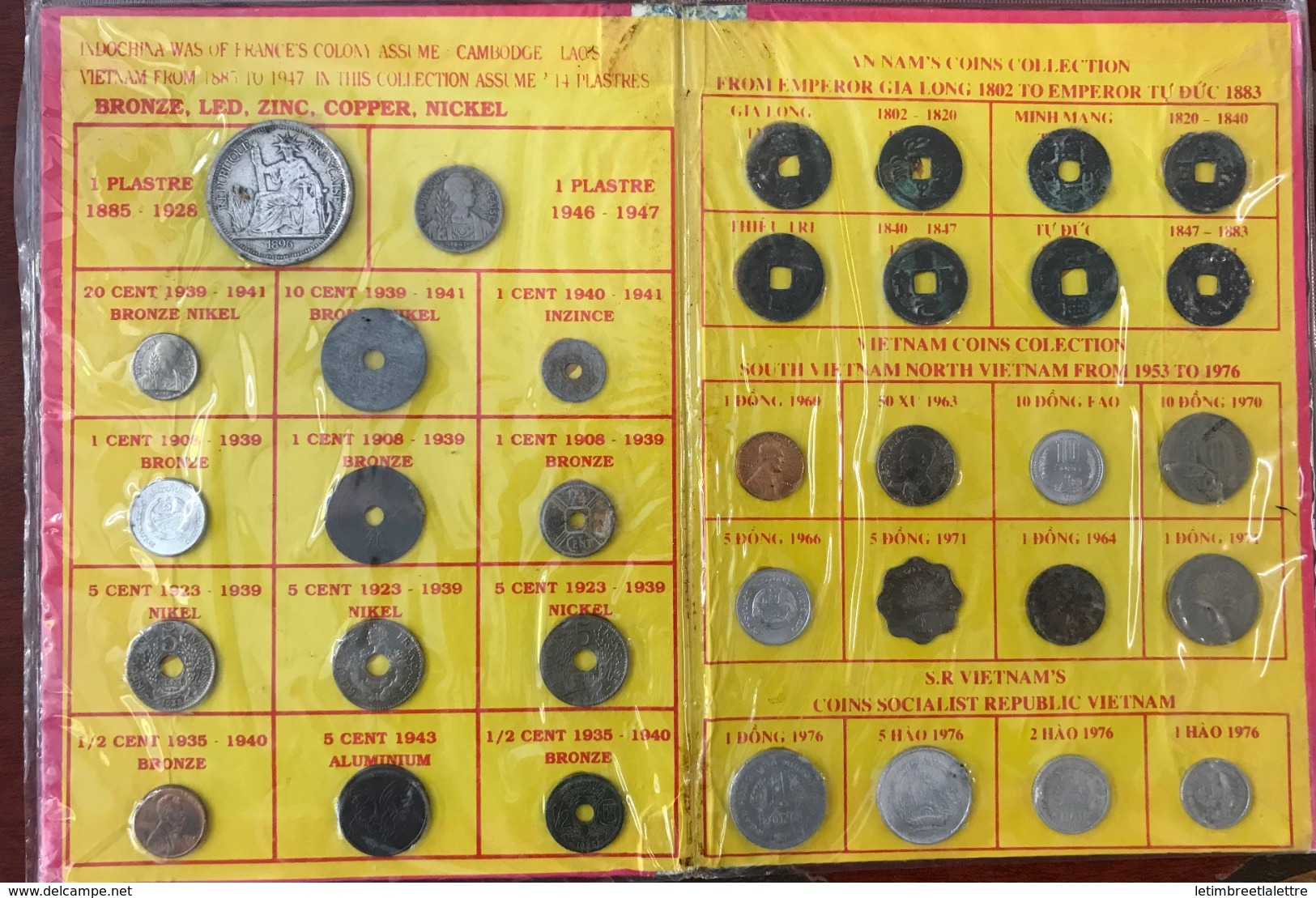 Asie, Monnaie, Indochine - Annam - Vietnam, Lot De 34 Pièces, Bronze - Led - Zinc - Copper - Nickel - Autres – Asie