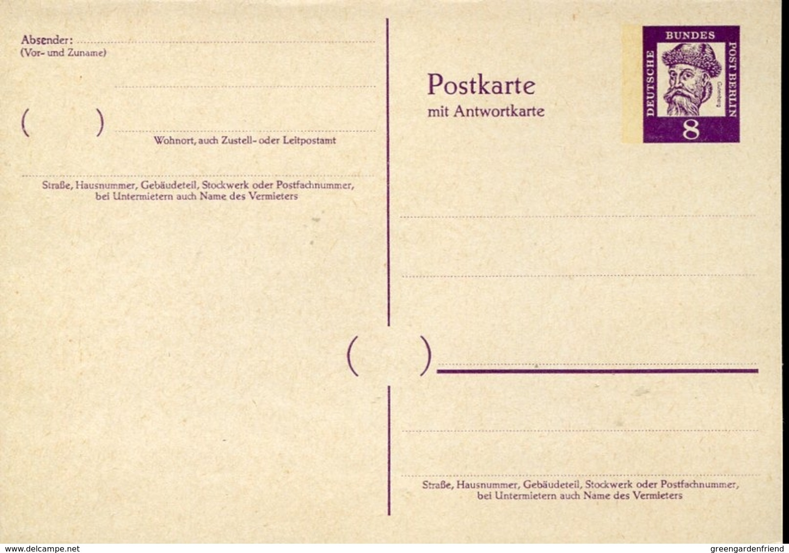 47533 Germany, Double Stationery Card (with Reply Part) Germany Berlin 8pf  Johannes Gutenberg - Celebridades