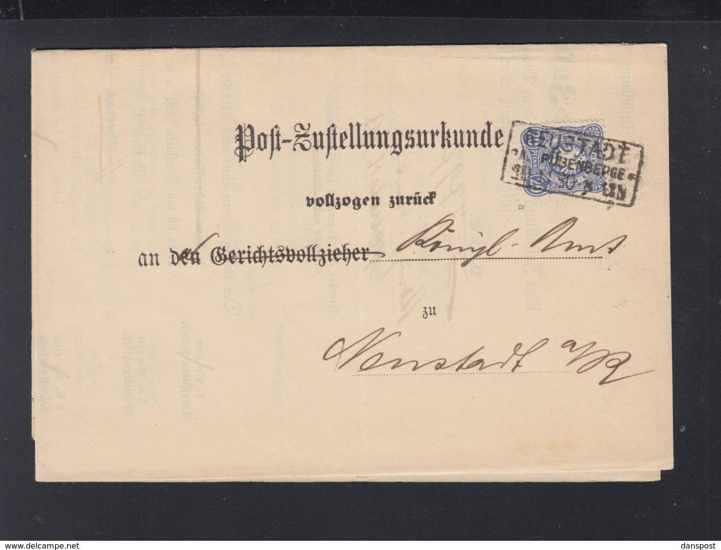 Dt. Reich Post-Zustellungurkunde Neustadt 1880 - Briefe U. Dokumente