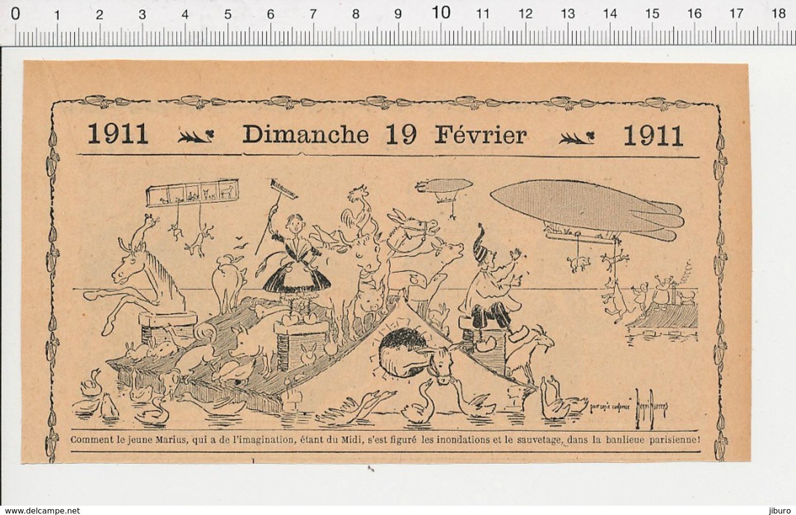2 Scans Humour Inondation 1910 Paris Banlieue Parisienne Sauvetage Dirigeable Aviation Vachère Cornet Acoustique 226A - Documentos Antiguos