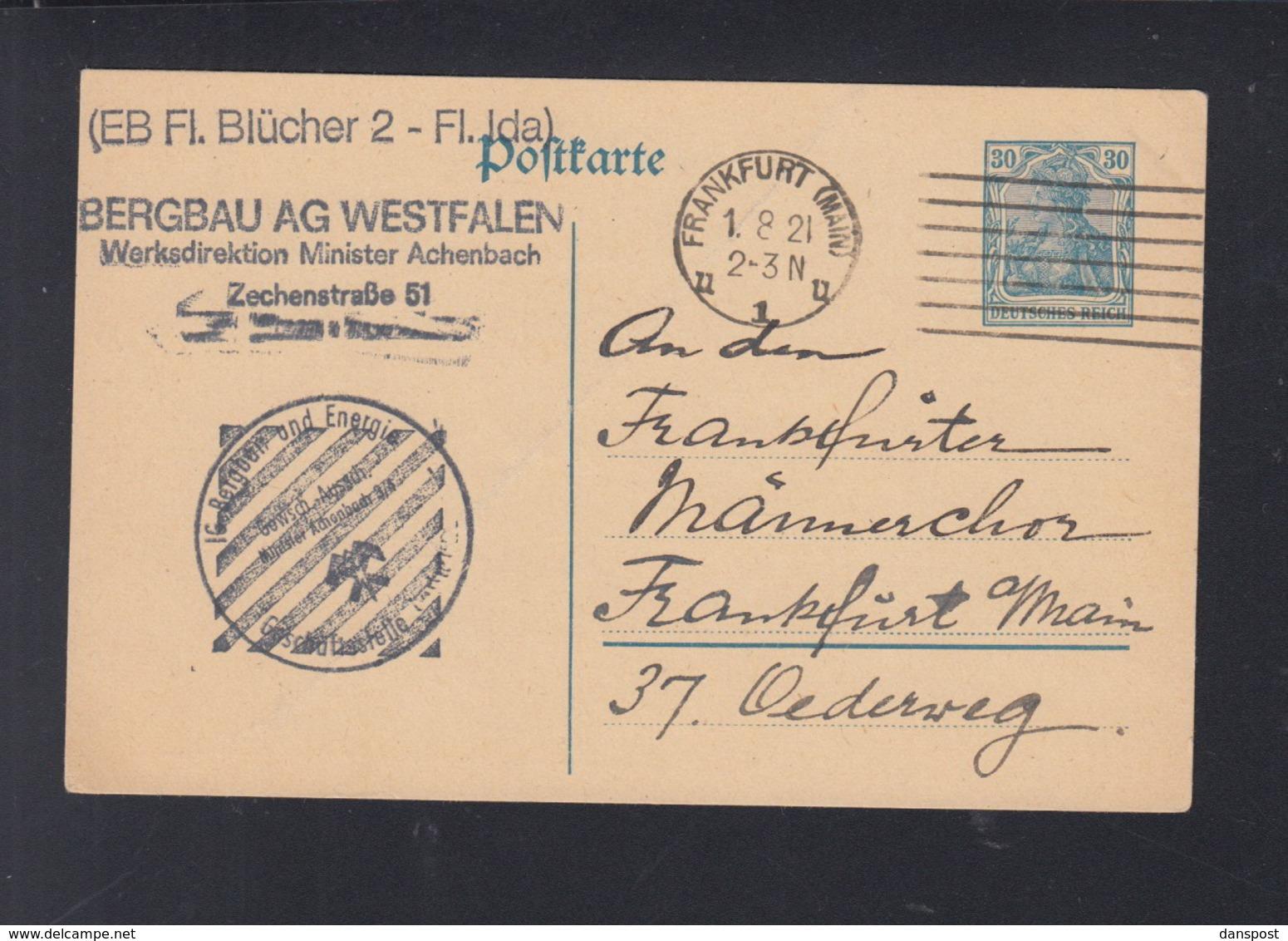 Dt. Reich GSK 1921 Bergbau AG Westfalen Frankfurt - Deutschland