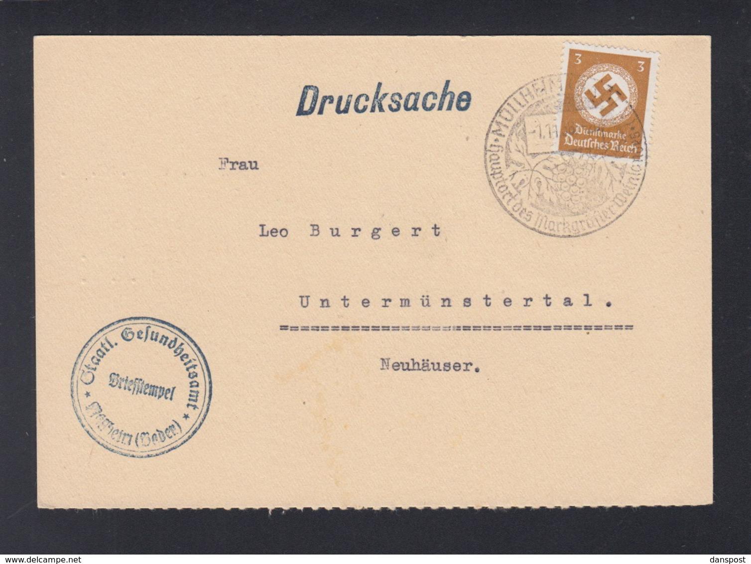 Dt. Reich Staatl. Gesundheitsamt Müllheim Baden PK 1938 - Dienstpost