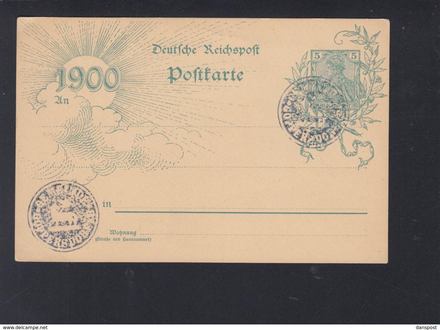 Dt. Reich Blankokarte 1900 Negativstempel Gemeinde Göppersdorf - Briefe U. Dokumente