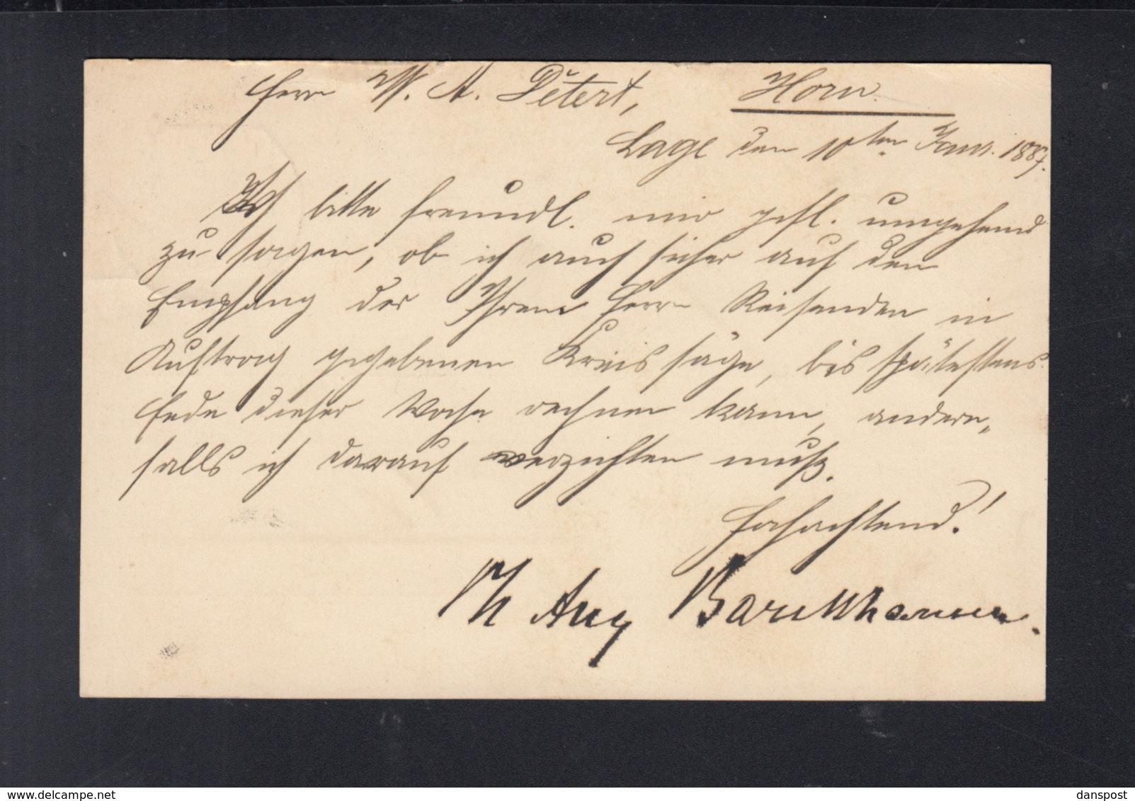 Dt. Reich GSK 1887 Lage In Lippe Nach Horn - Briefe U. Dokumente