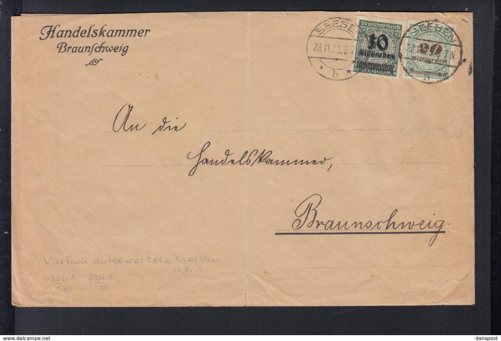 Dt. Reich Brief 1923 Seesen Nach Braunschweig - Deutschland