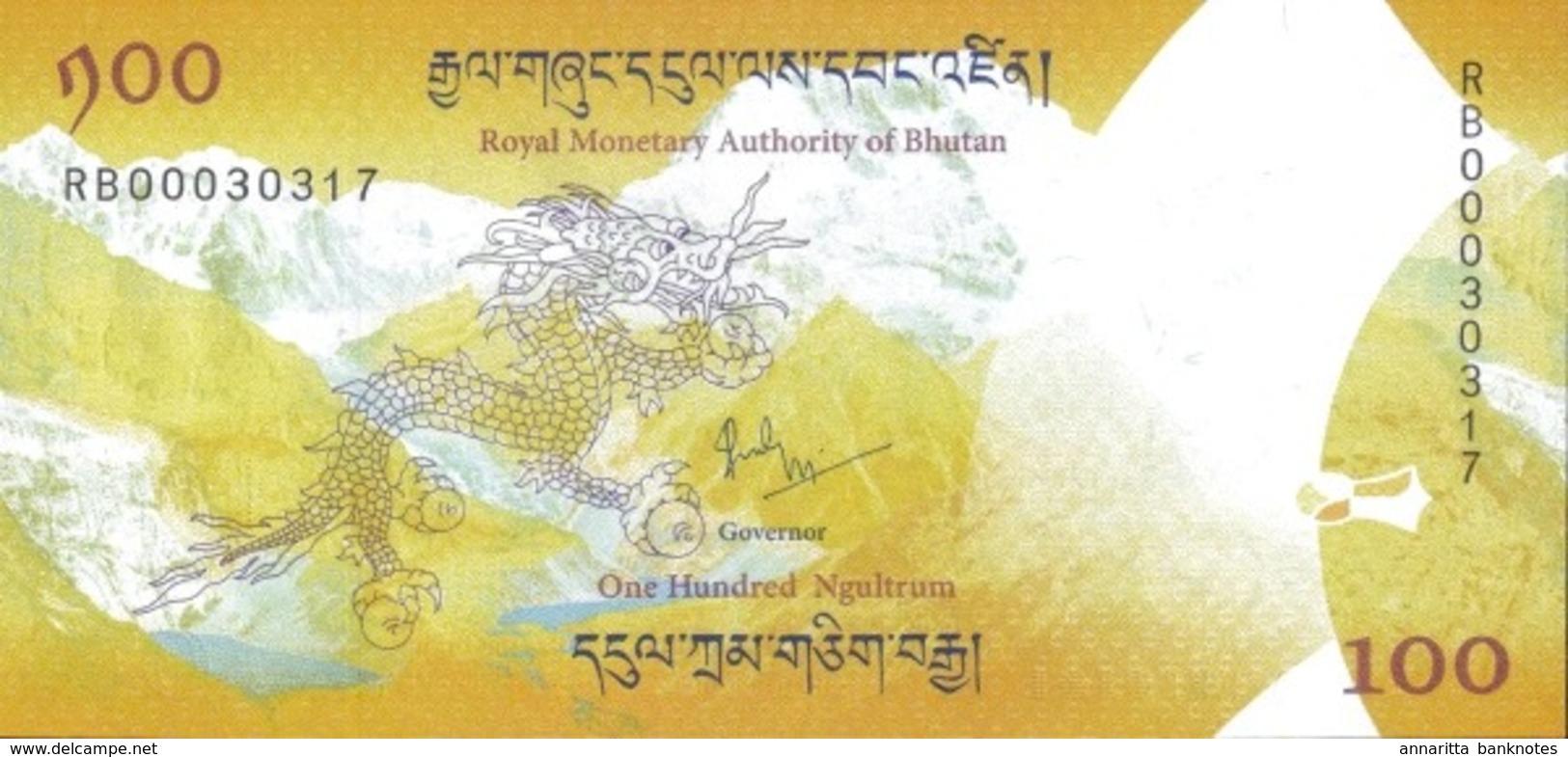 BHUTAN 100 NGULTRUM 2016 (2018) P-37a UNC COMMEMORATIVE W/ FOLDER [BTNP202a] - Bhutan